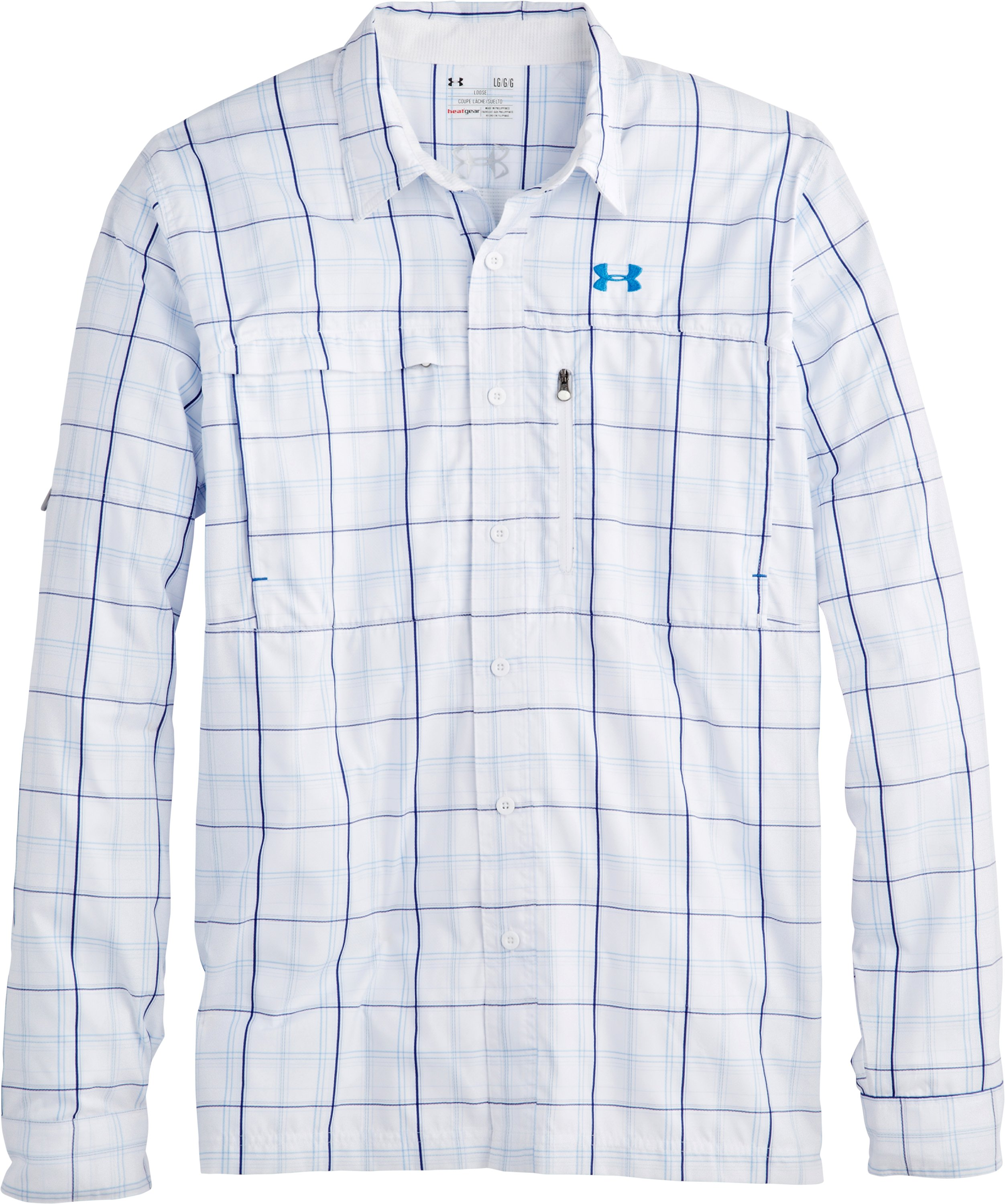 Men's UA Flats Guide Plaid Long Sleeve Shirt, White, Laydown