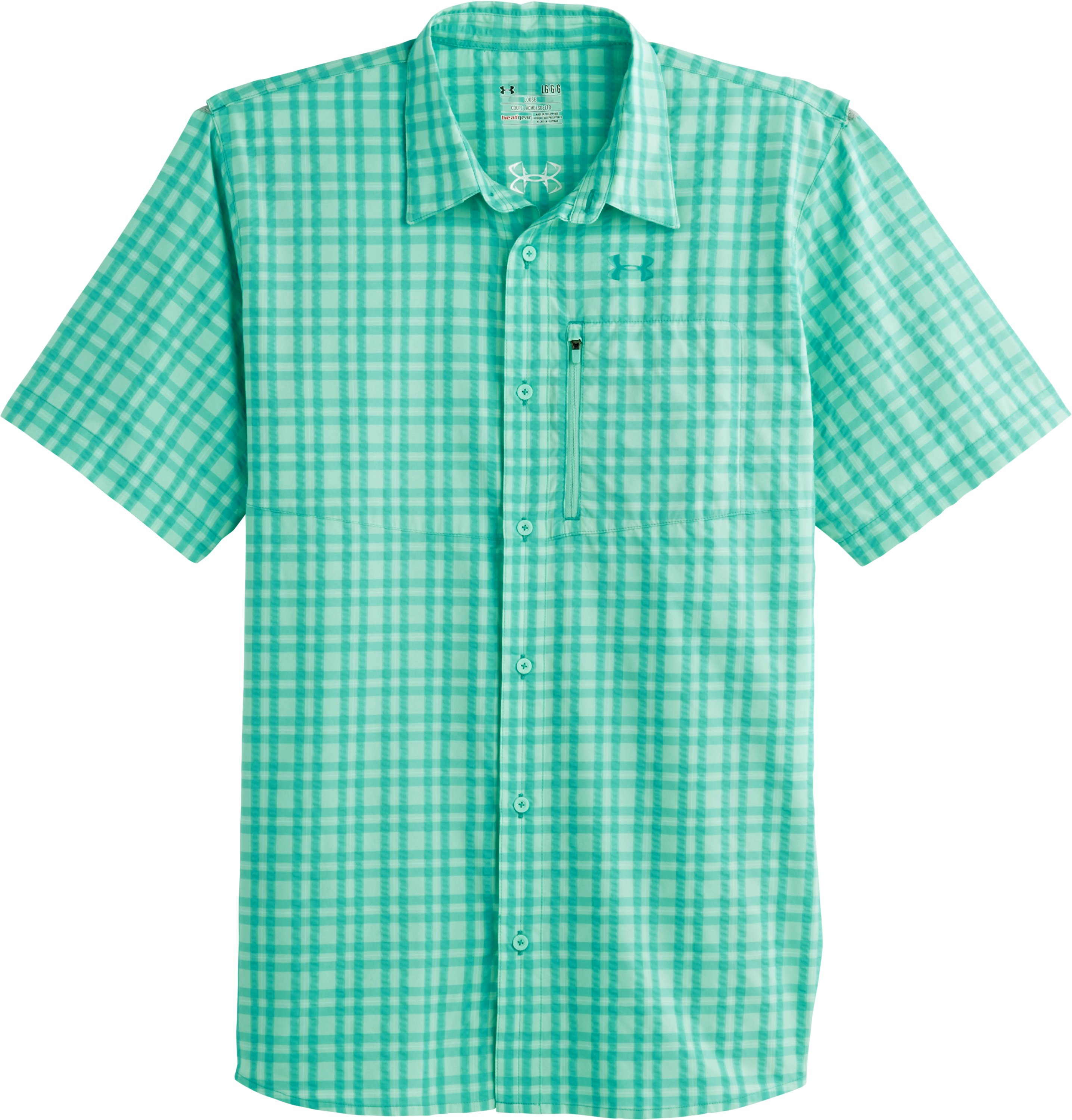 Men's UA Fish Hunter Short Sleeve Shirt, CRYSTAL, Laydown