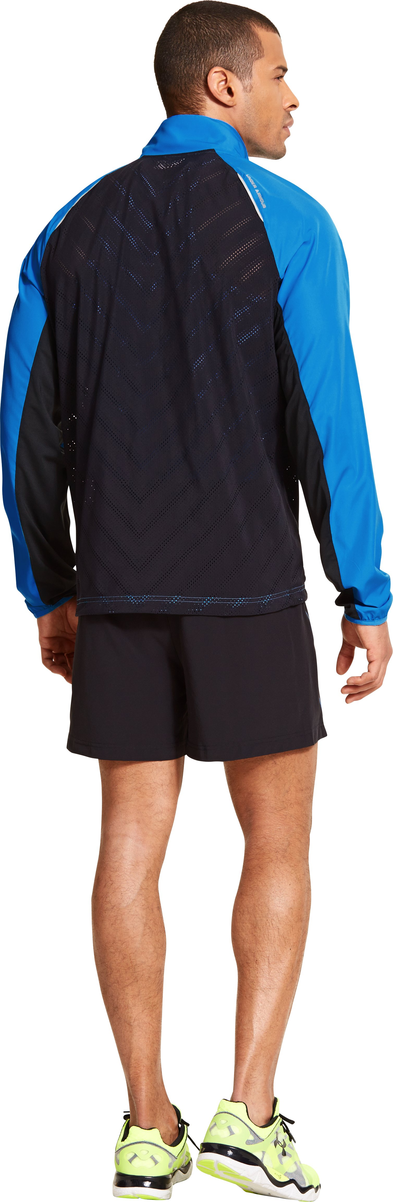 Men's ArmourVent™ Run Jacket, ELECTRIC BLUE, Back