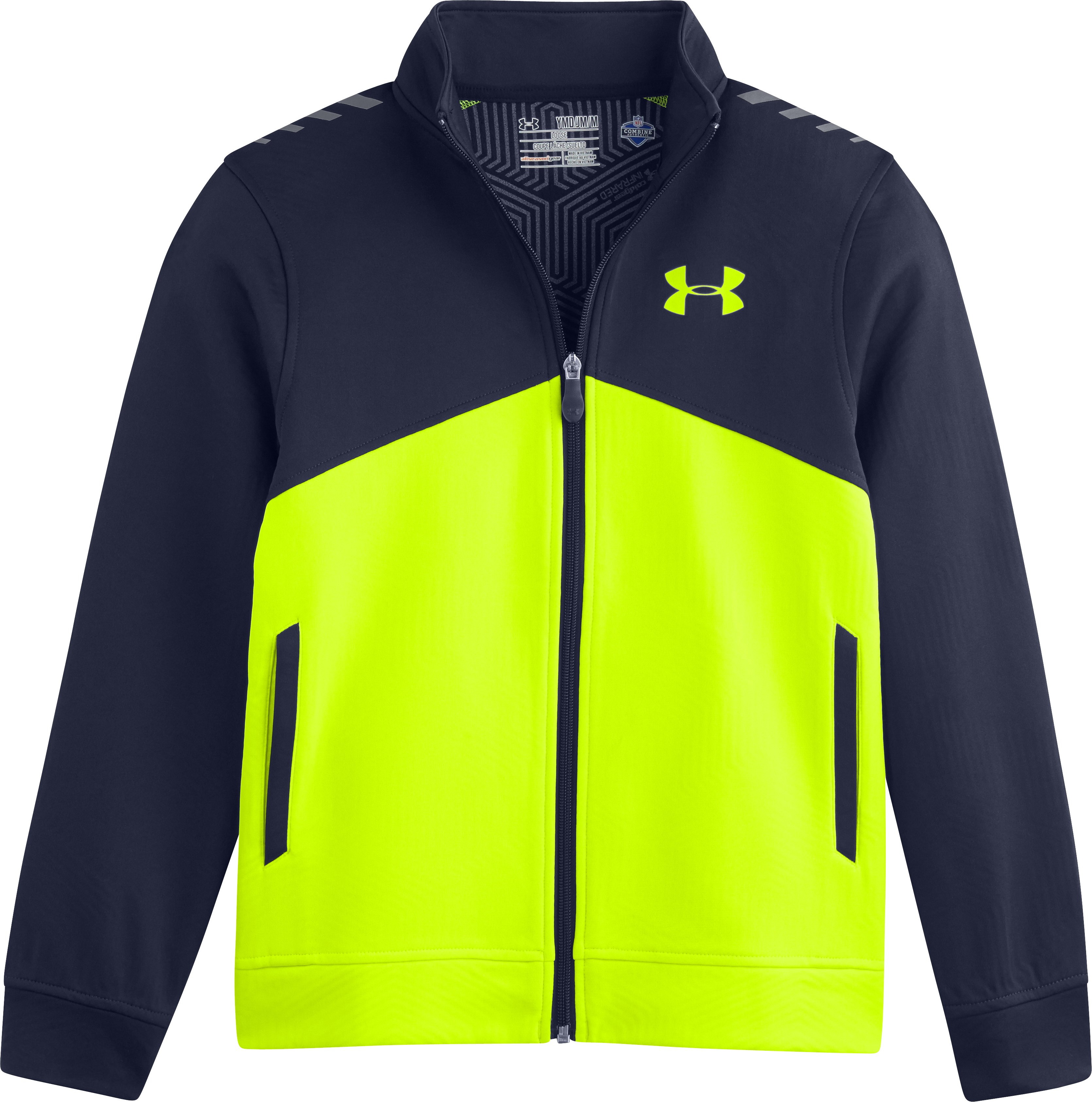 Boys' NFL Combine Authentic ColdGear® Infrared Warm-Up Jacket, High-Vis Yellow, Laydown
