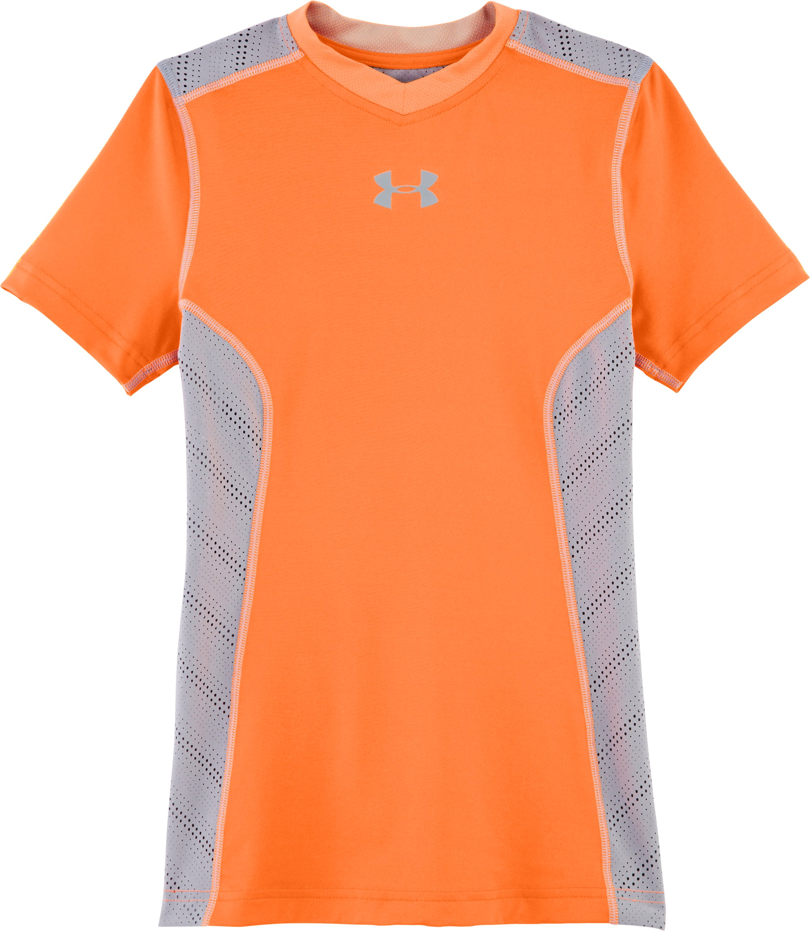 Boys' HeatGear® Sonic ArmourVent™ Short Sleeve, Blaze Orange, Laydown