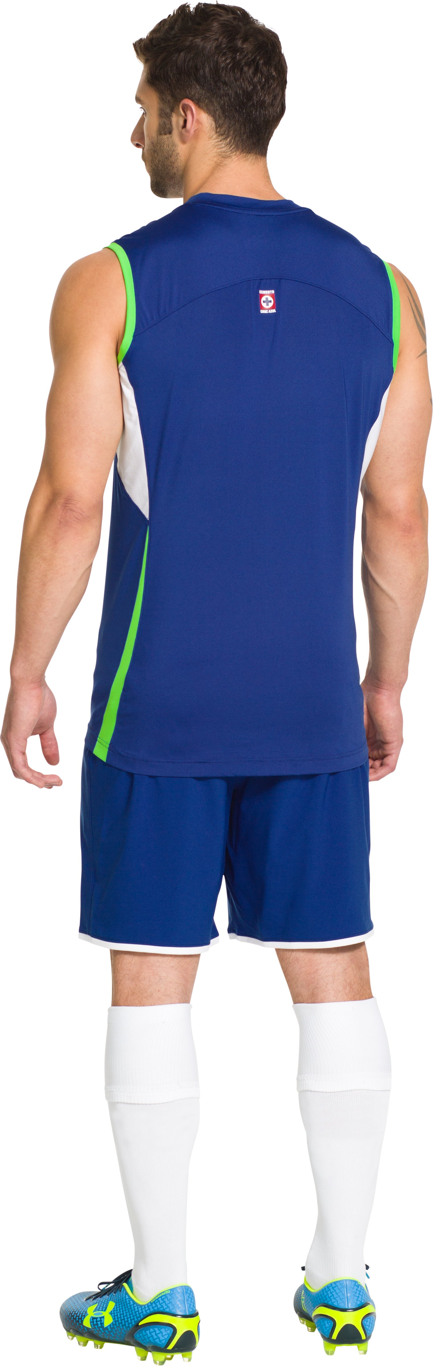 Men's Cruz Azul 14/15 Sleeveless Training Shirt, Royal, Back