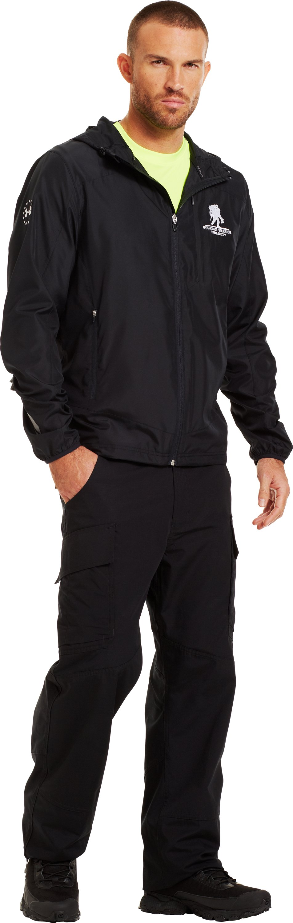 Men's WWP UA Run Jacket, Black , Front