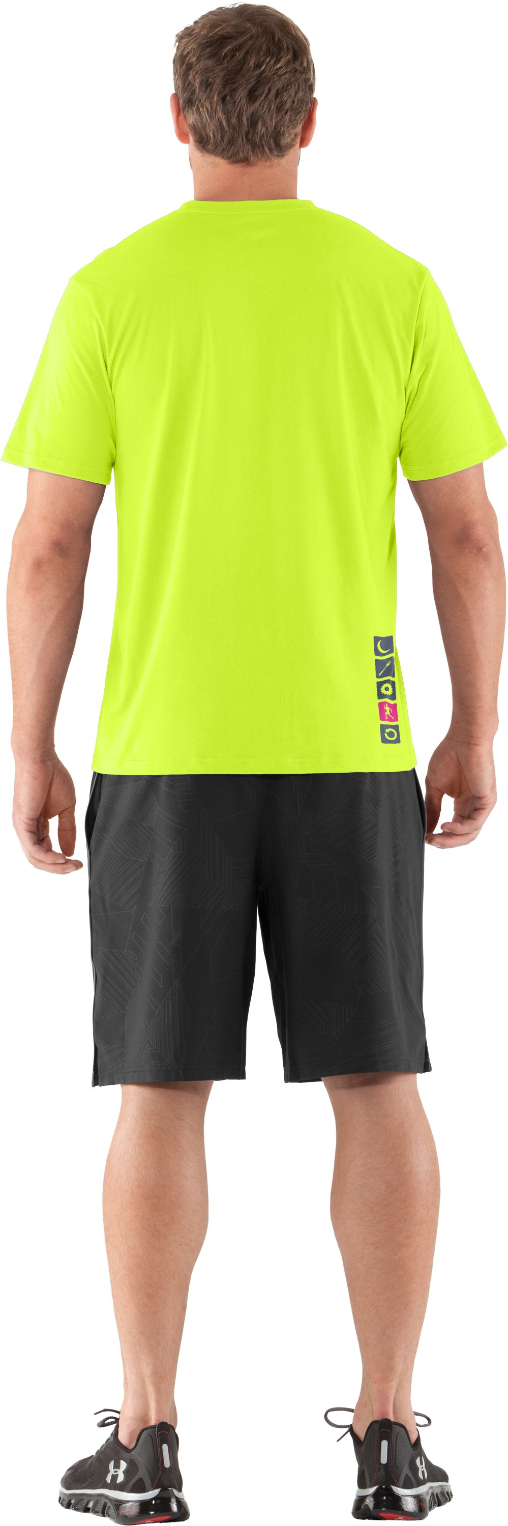 Men's UA Eat Sleep Run Repeat T-Shirt, High-Vis Yellow, Back