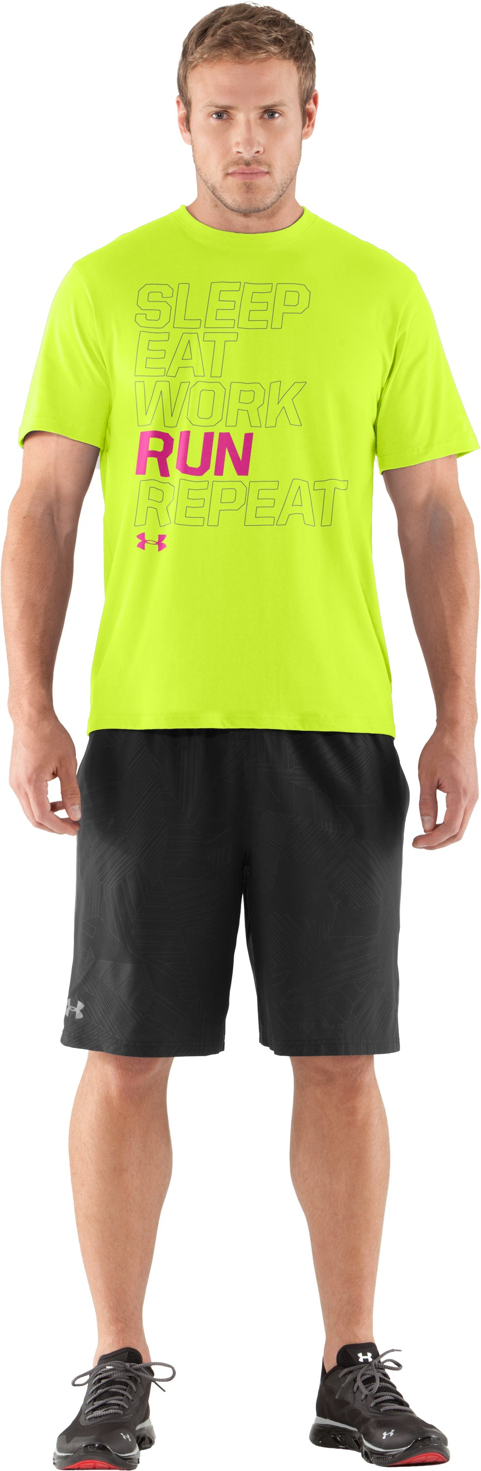 Men's UA Eat Sleep Run Repeat T-Shirt, High-Vis Yellow, Front