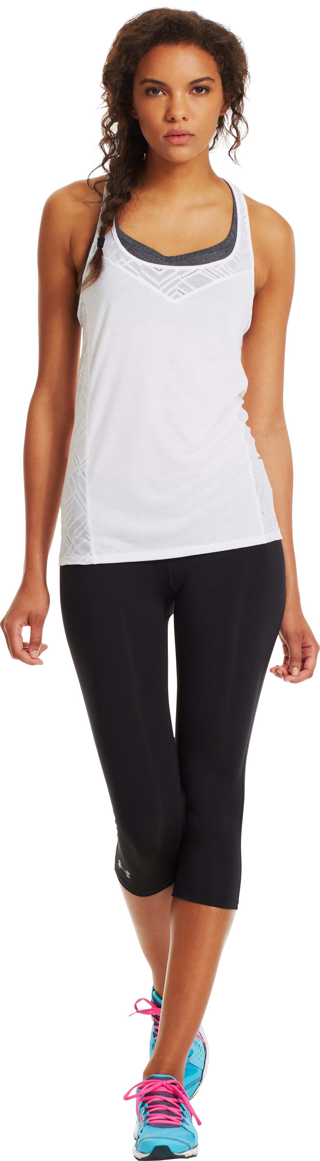 Women's UA Stunner Lace Tank, White, Front