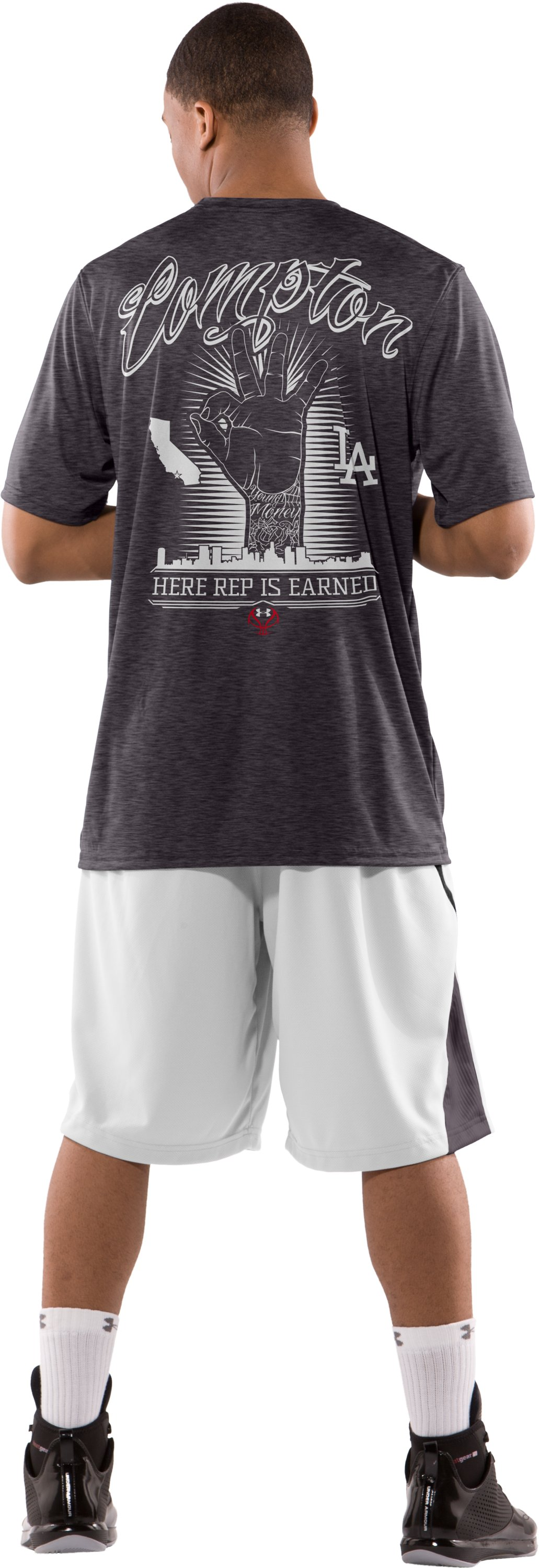 Men's Brandon Jennings Player Reppin' T-Shirt, Carbon Heather, Back