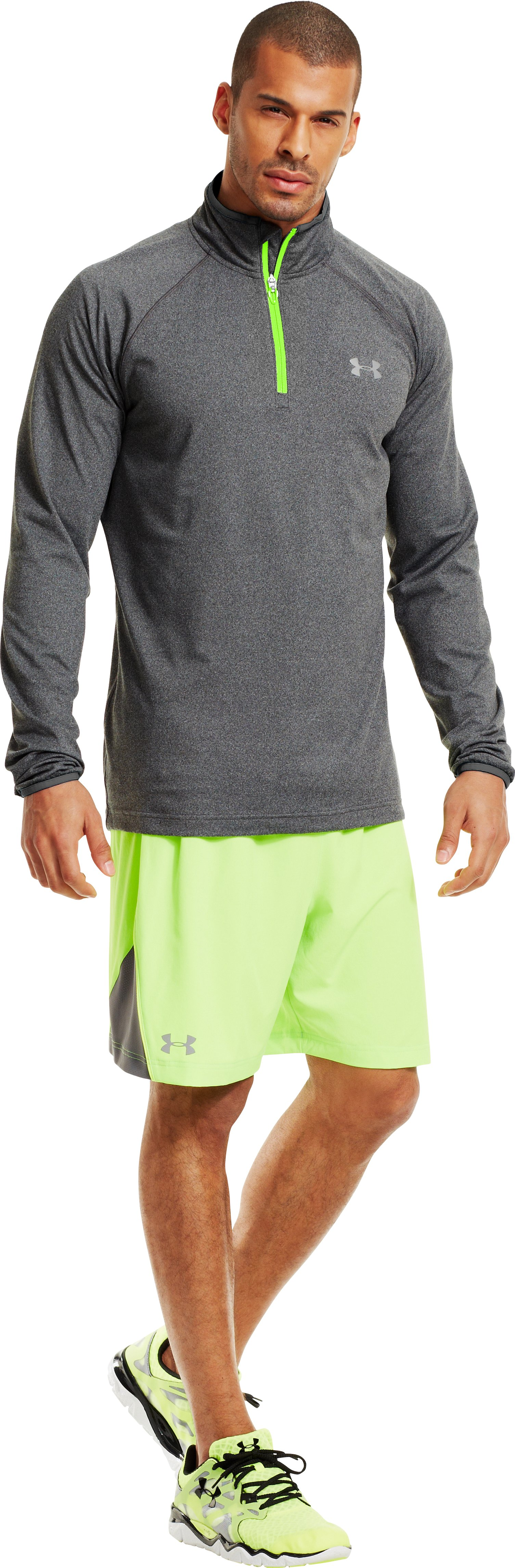 Men's UA HeatGear® Flyweight Run ¼ Zip, Graphite, zoomed image