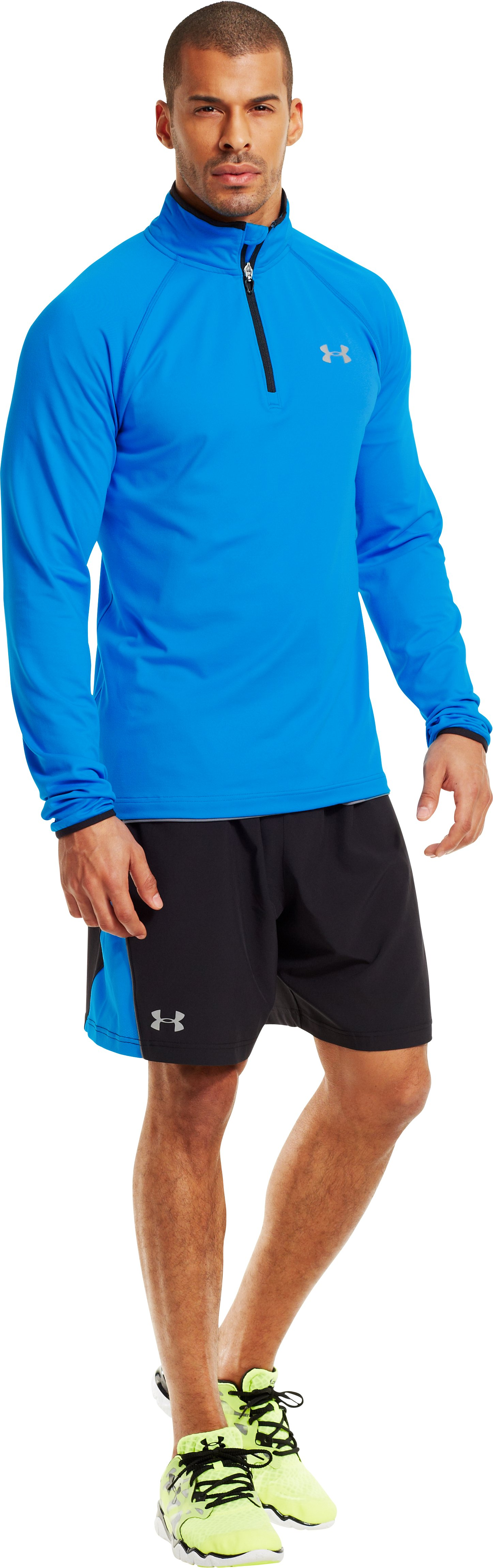Men's UA HeatGear® Flyweight Run ¼ Zip, ELECTRIC BLUE