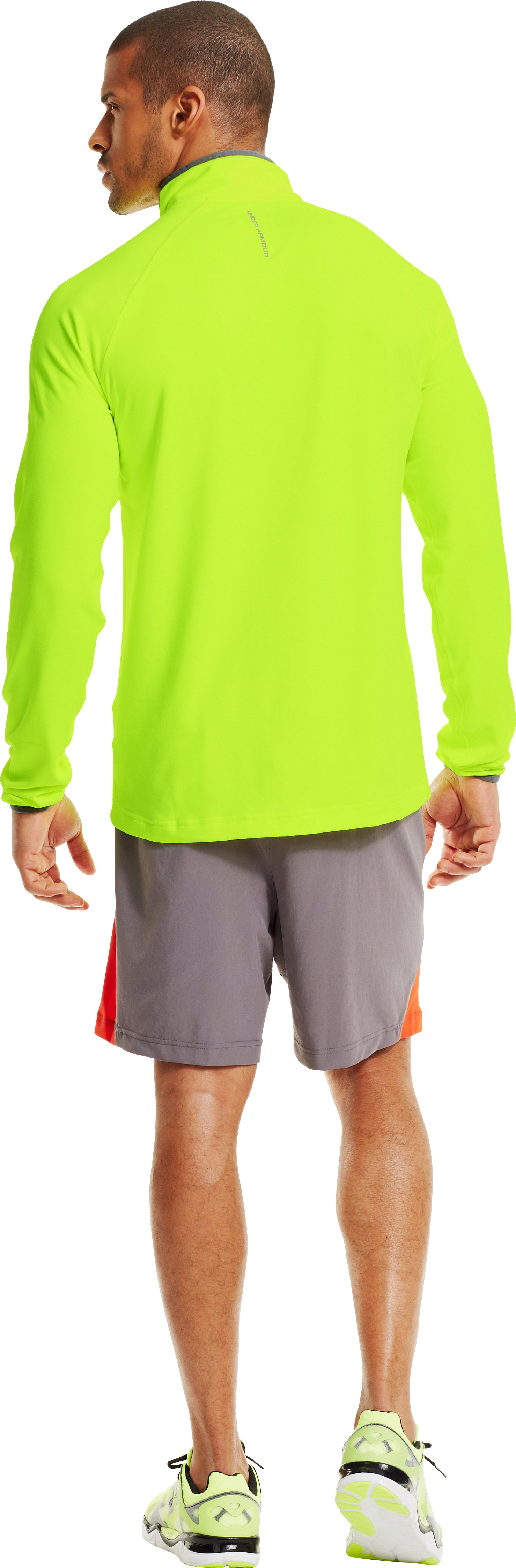 Men's UA HeatGear® Flyweight Run ¼ Zip, High-Vis Yellow, Back