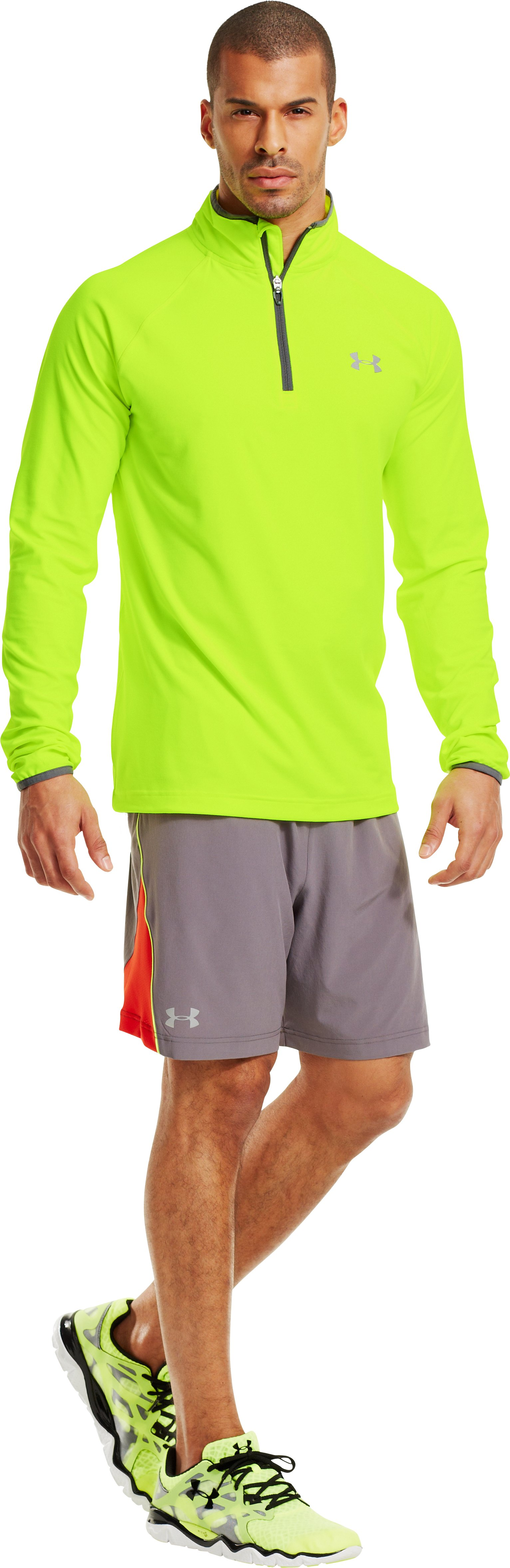 Men's UA HeatGear® Flyweight Run ¼ Zip, High-Vis Yellow, Front