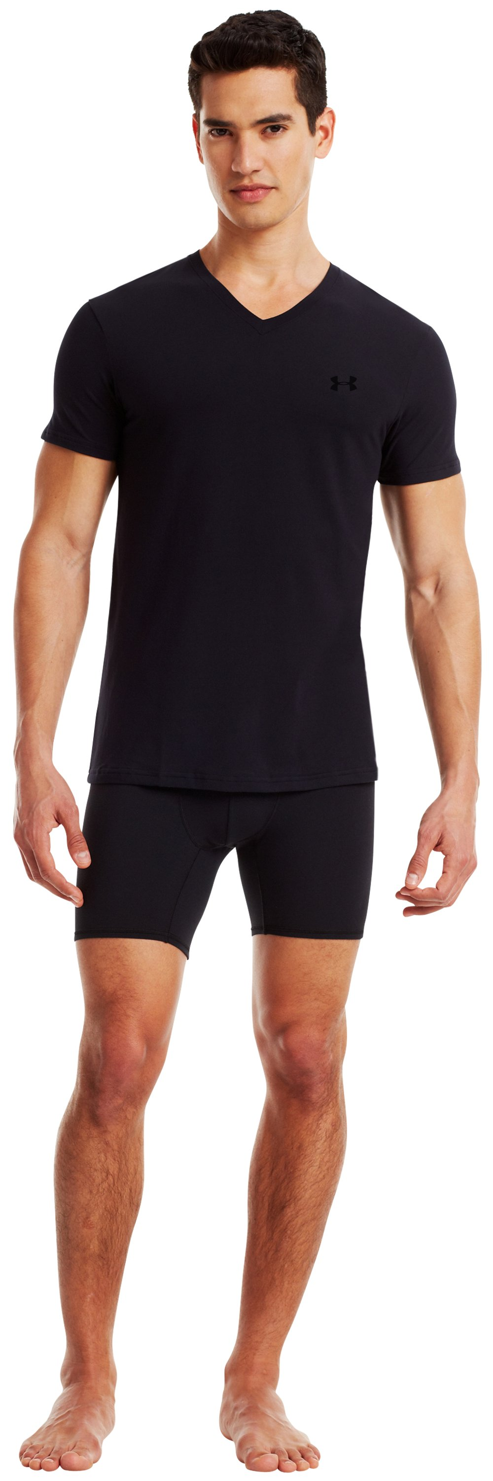 Men's UA Elite V-Neck Undershirt, Black , Front