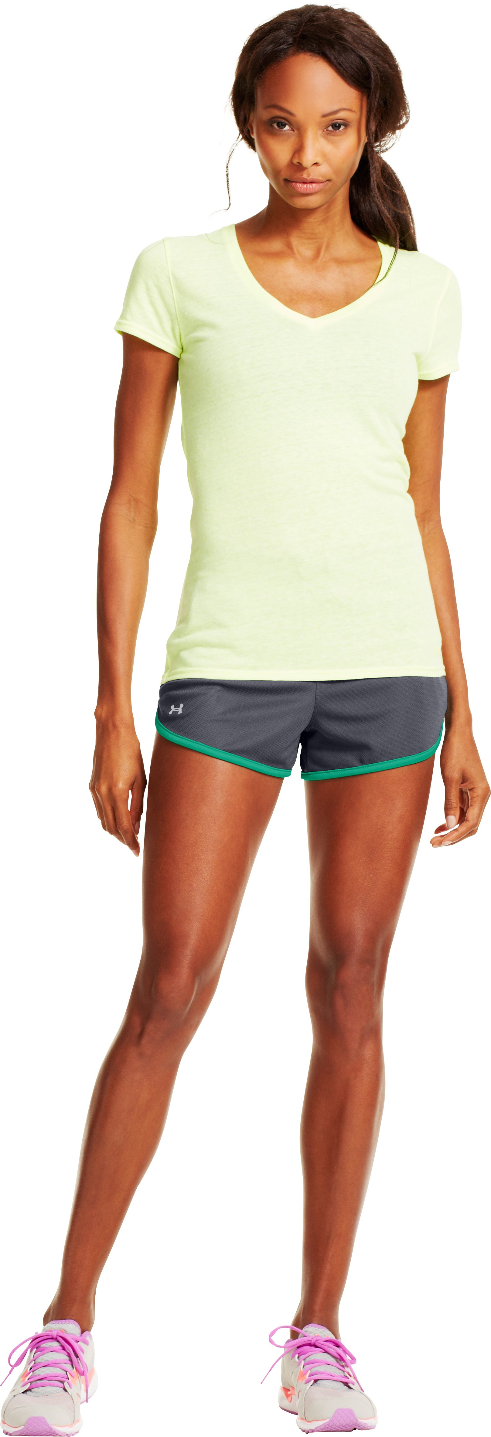 Women's UA Rally Shorts, Lead, Front