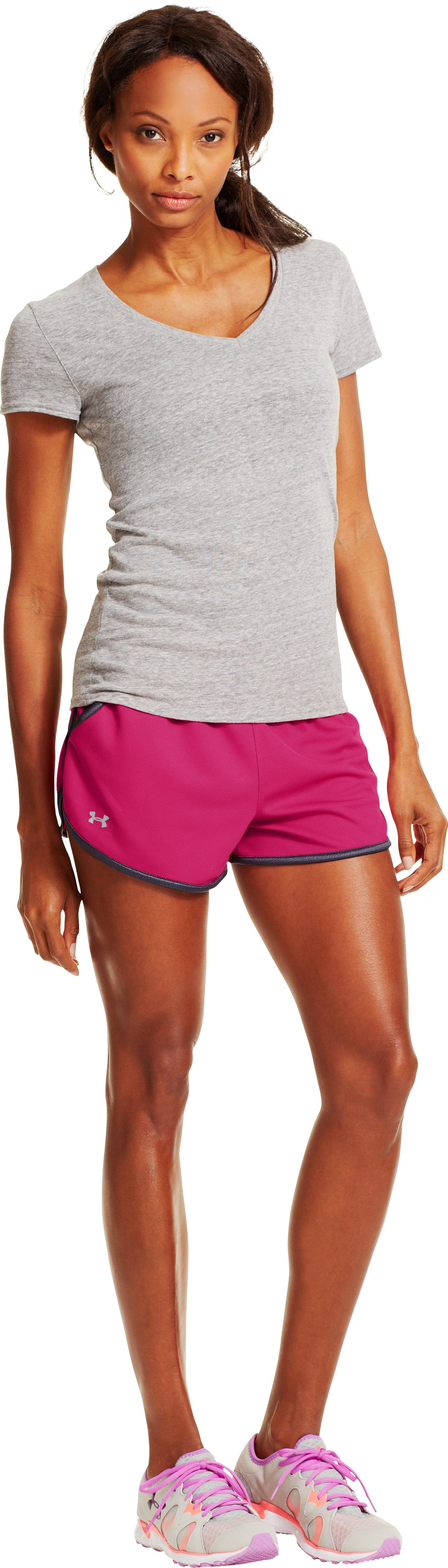 Women's UA Rally Shorts, EXUBERANT PINK, Front