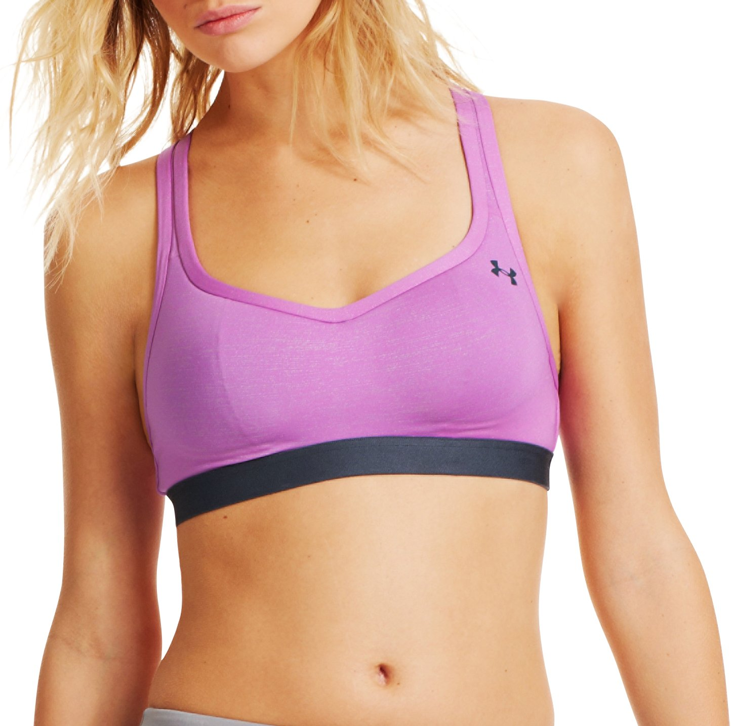Women's UA Get Set Go Shimmer Sports Bra – B, EXOTIC BLOOM, Front