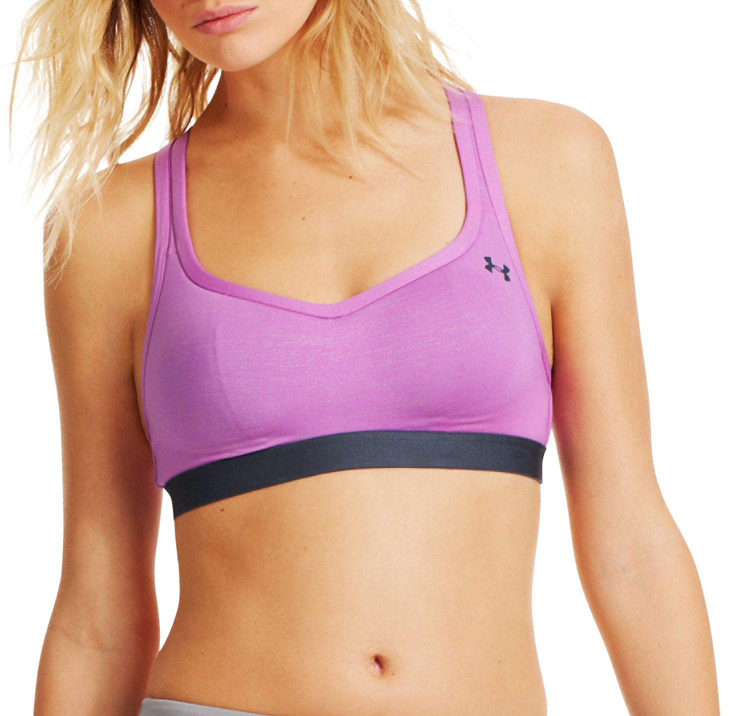 Women's UA Get Set Go Shimmer Sports Bra – C, EXOTIC BLOOM, Front