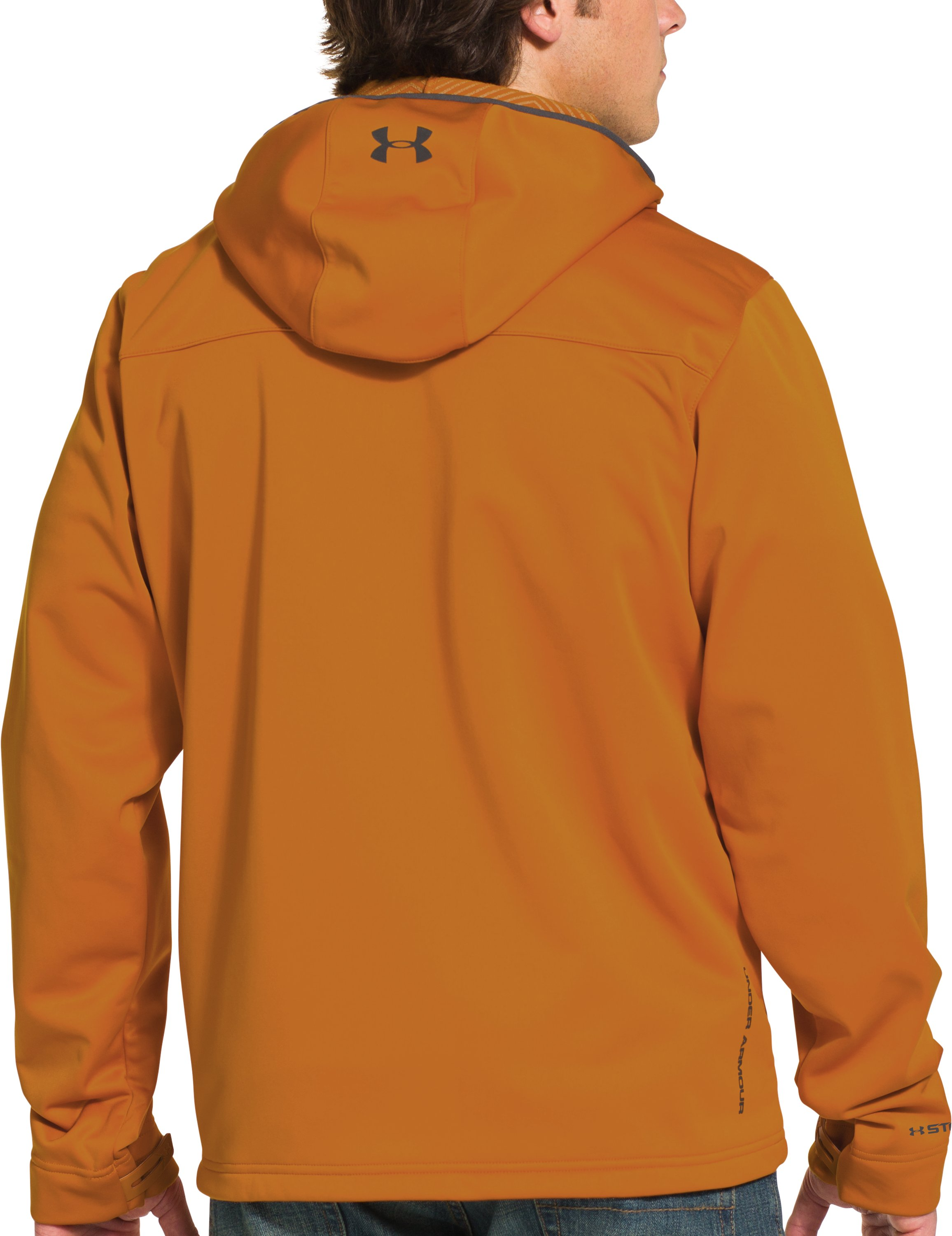 Men's UA Storm ColdGear® Infrared Hooded Softershell Jacket, HUNTER ORANGE TEXTILE, Back