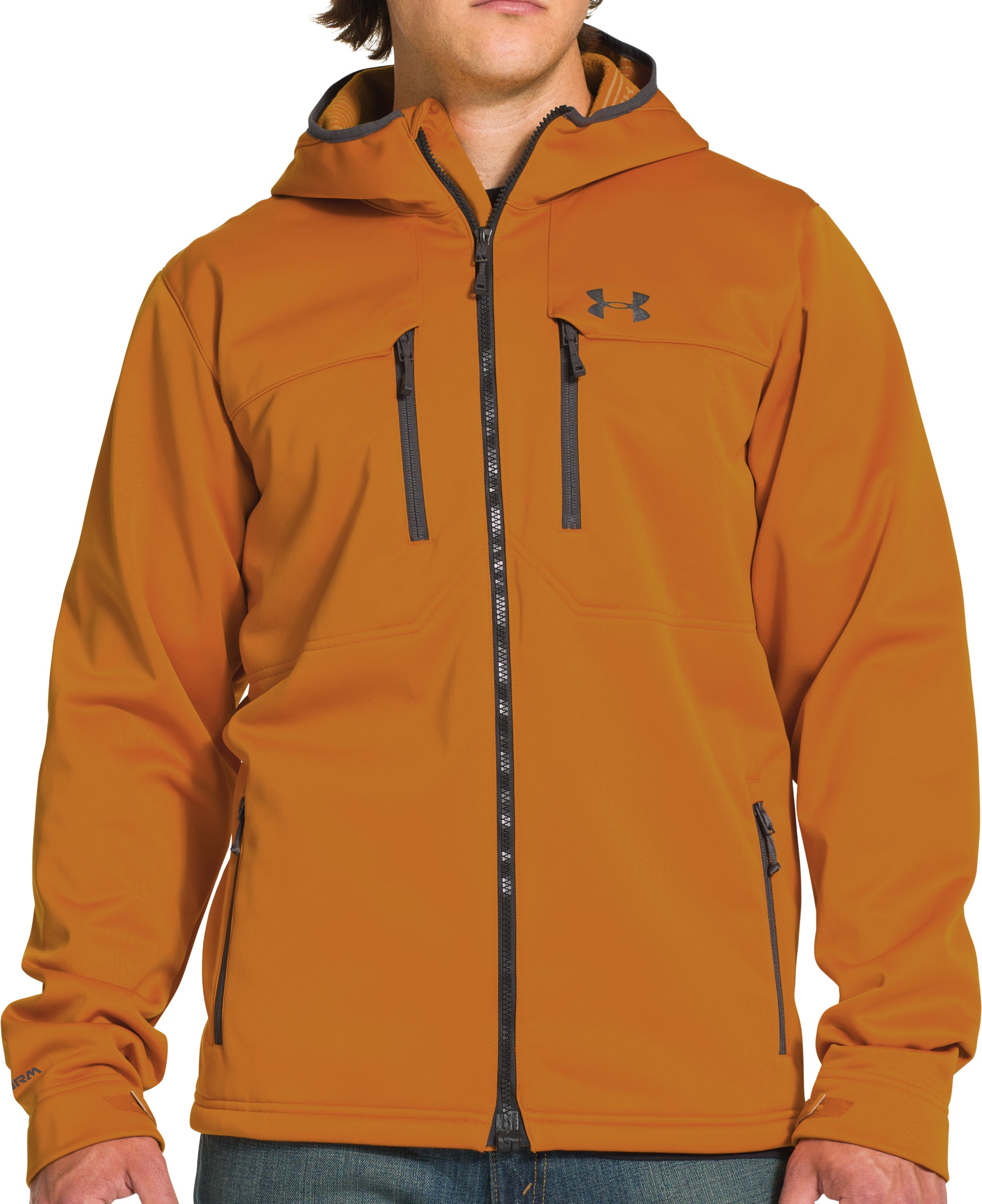 Men's UA Storm ColdGear® Infrared Hooded Softershell Jacket, HUNTER ORANGE TEXTILE, Front