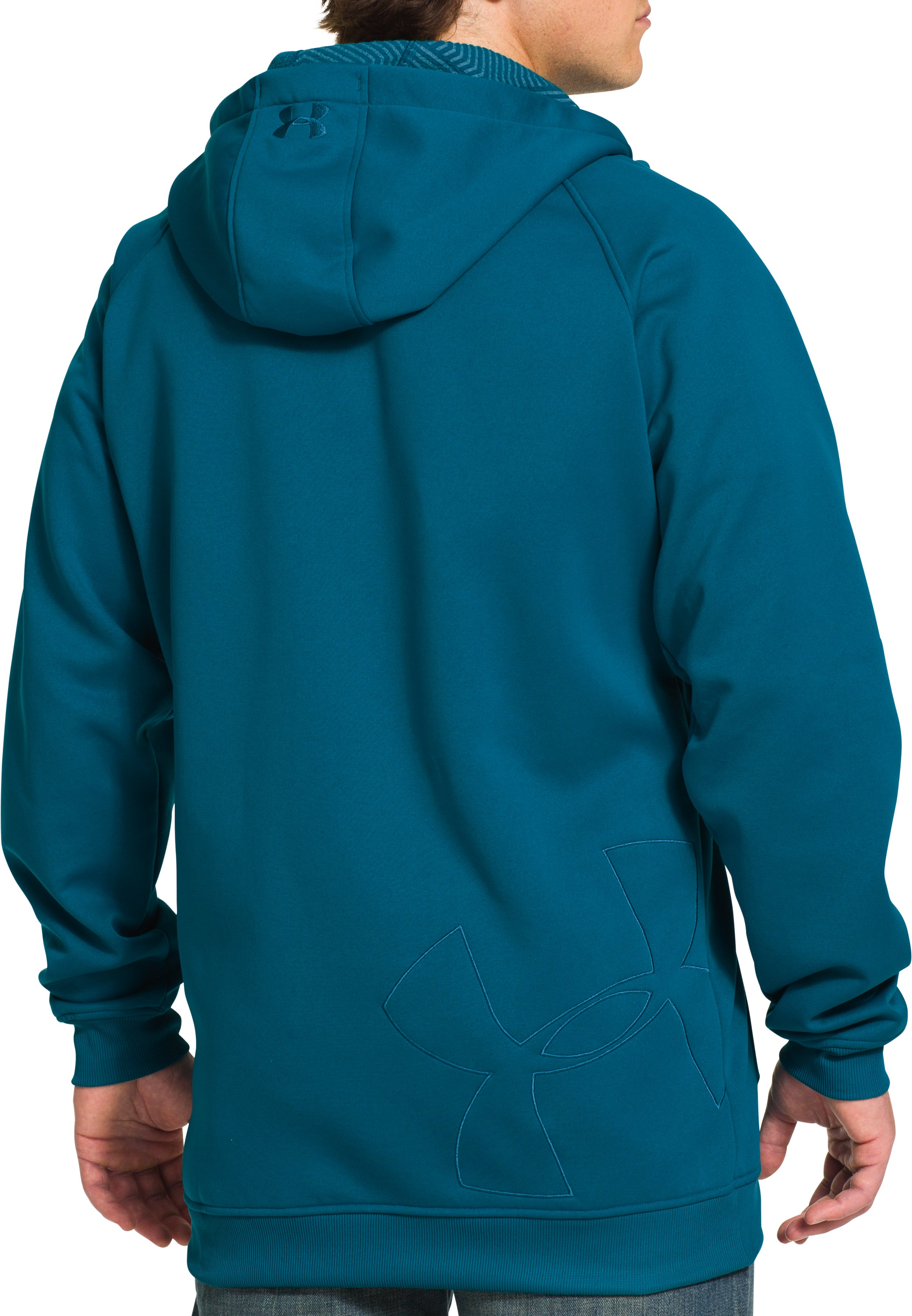 Men's UA Storm ColdGear® Infrared Freeway Hoodie, SAPPHIRE LAKE, Back