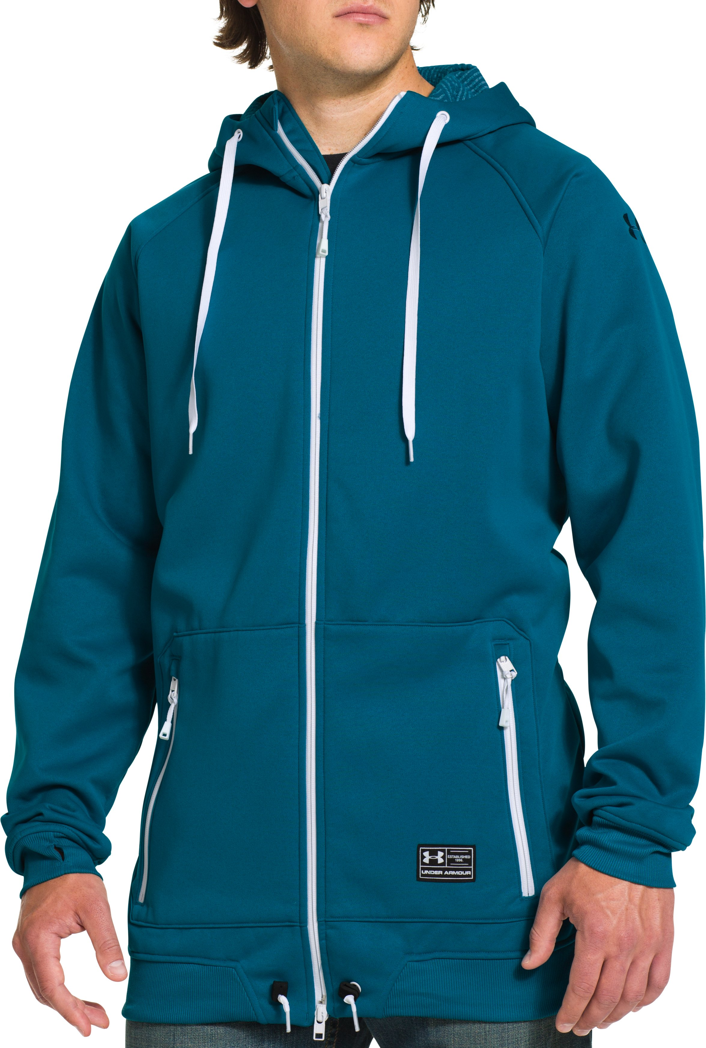 Men's UA Storm ColdGear® Infrared Freeway Hoodie, SAPPHIRE LAKE, Front