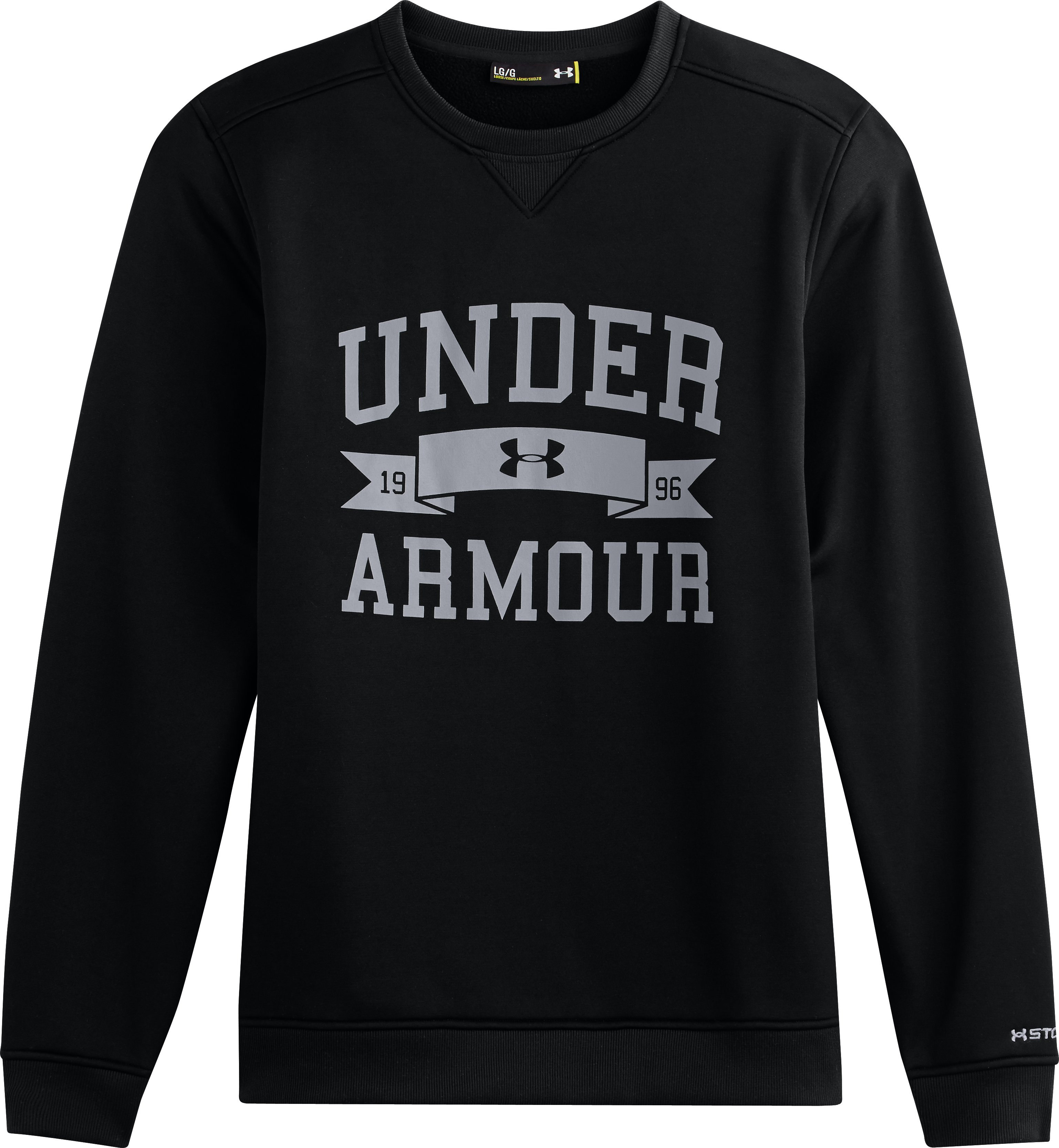 Men's UA Storm Armour® Fleece Overline Crew, Black , Laydown
