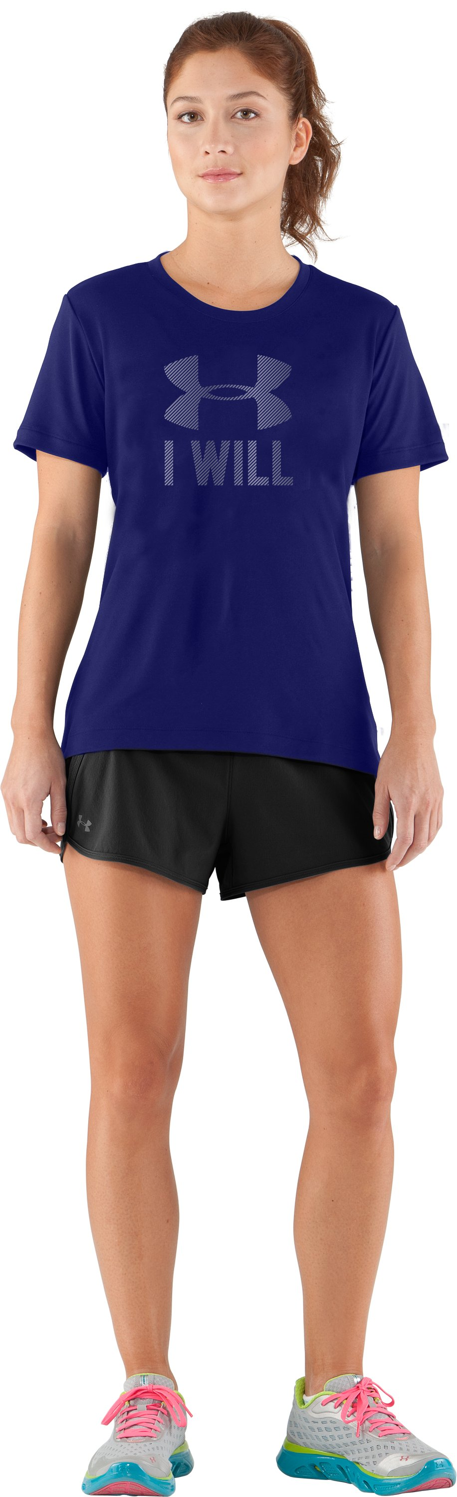Women's UA I Will Short Sleeve, Monarchy, Front