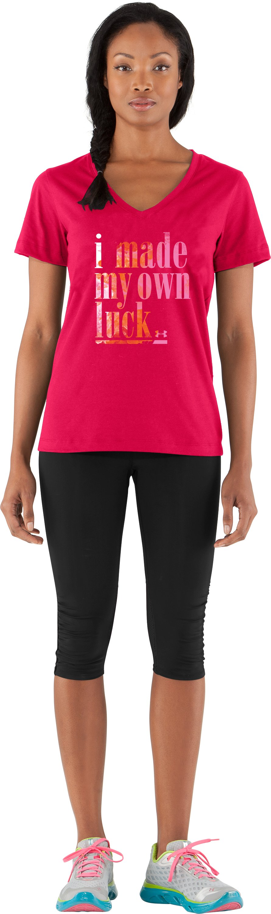 Women's UA Own Luck V-Neck, Hibiscus, Front