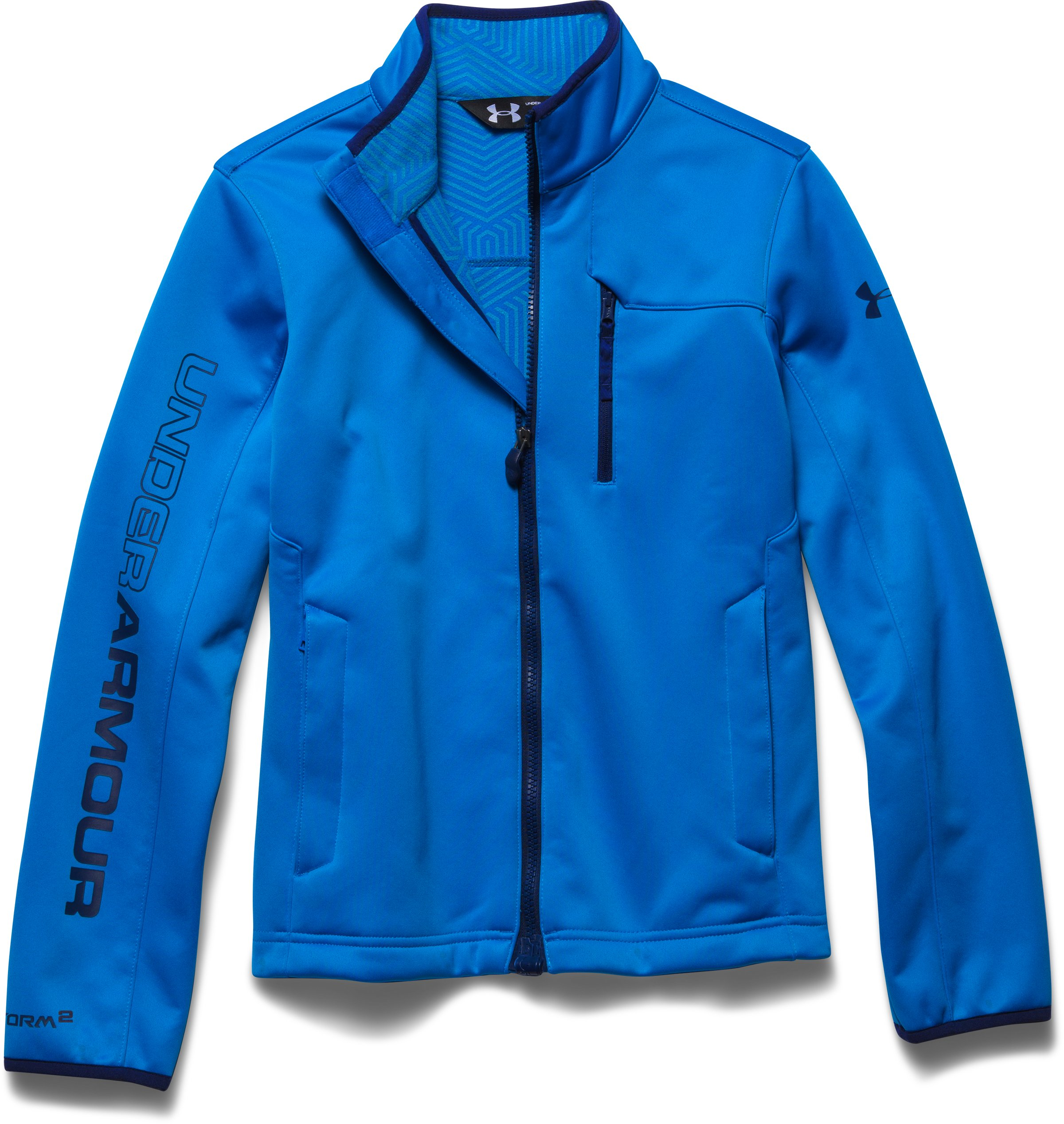 Boys' UA Storm ColdGear® Infrared Softershell Jacket, BLUE JET, Laydown
