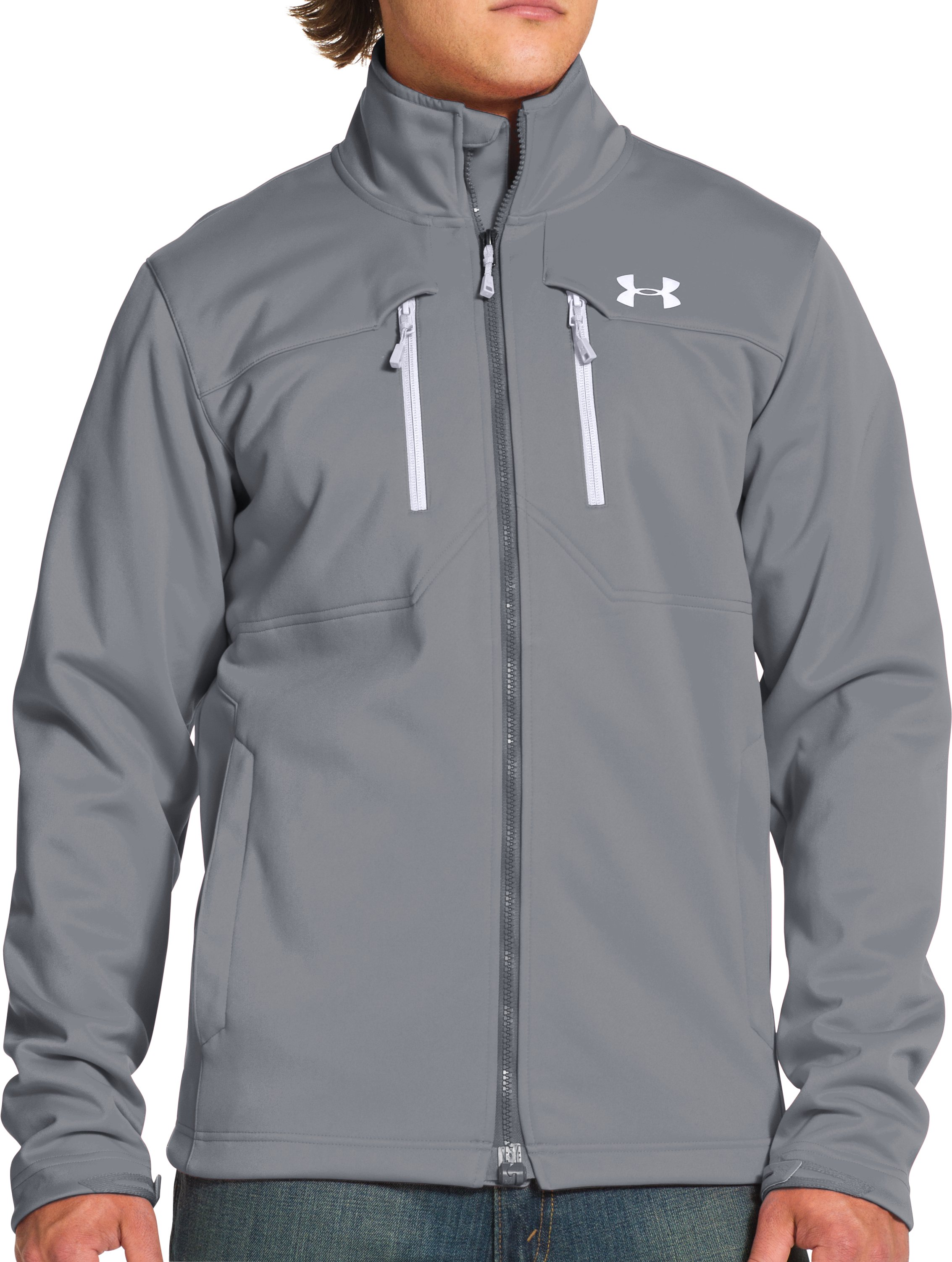 Men's UA Storm ColdGear® Infrared Softershell Jacket, Steel, Front