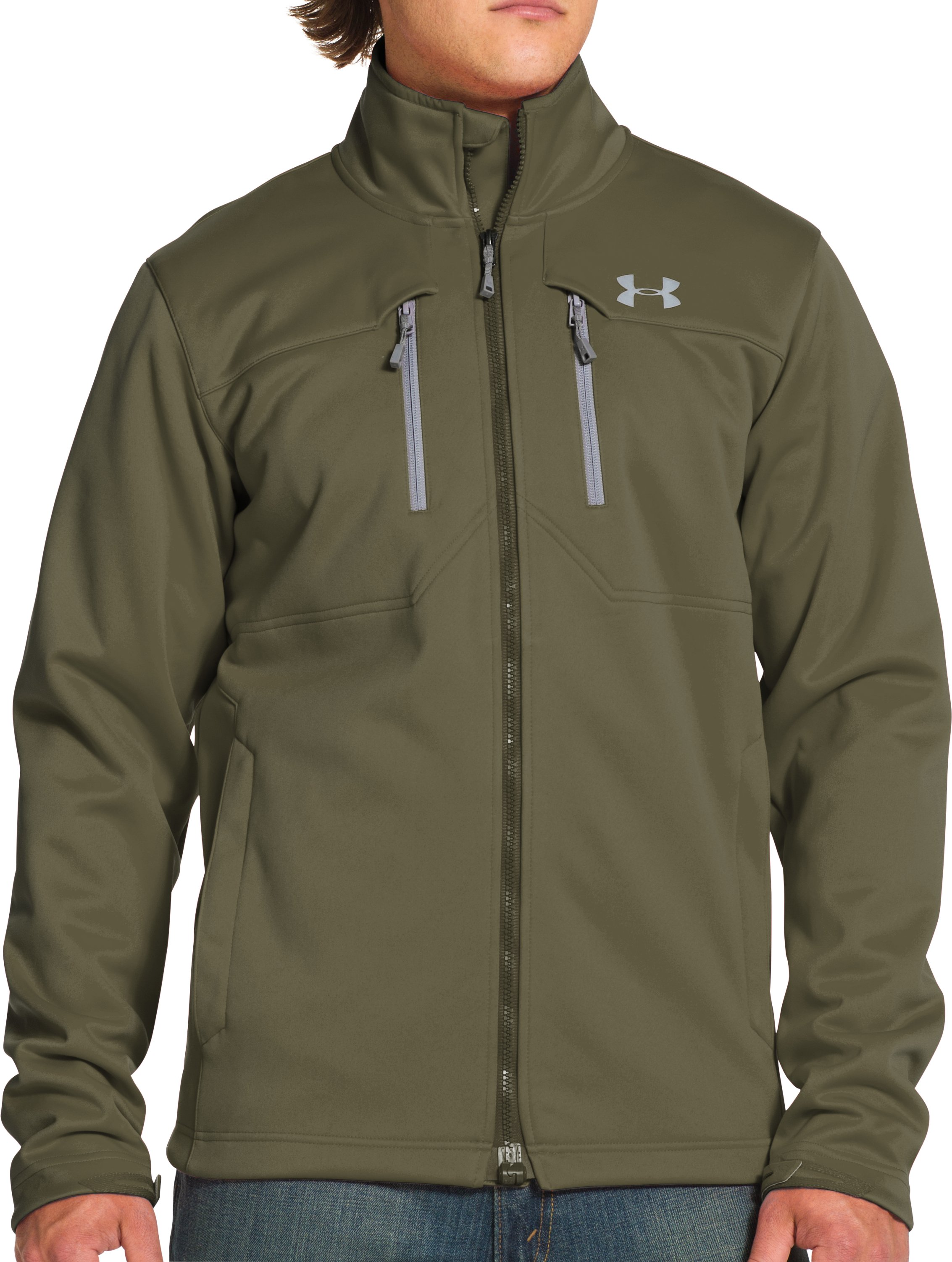 Men's UA Storm ColdGear® Infrared Softershell Jacket, DIVER GREEN, Front
