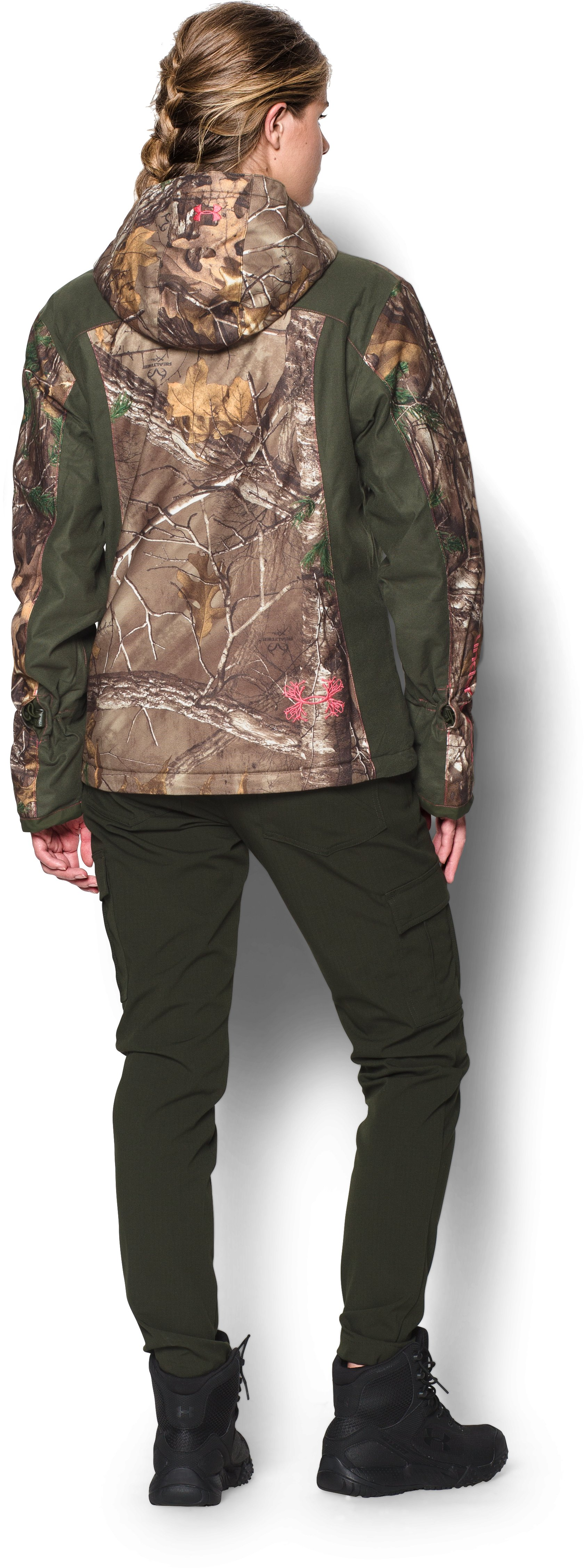 Women's UA Scent Control ColdGear® Infrared Gunpowder Jacket, REALTREE AP-XTRA, Back