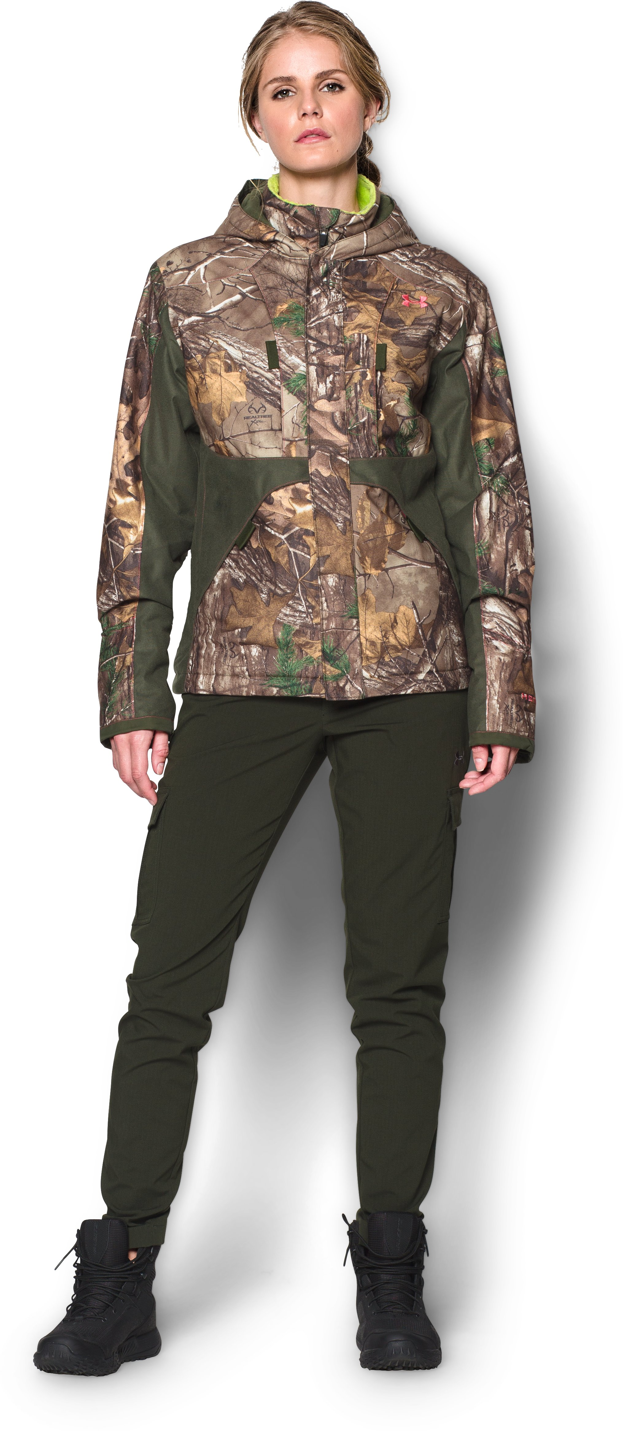 Women's UA Scent Control ColdGear® Infrared Gunpowder Jacket, REALTREE AP-XTRA, Front