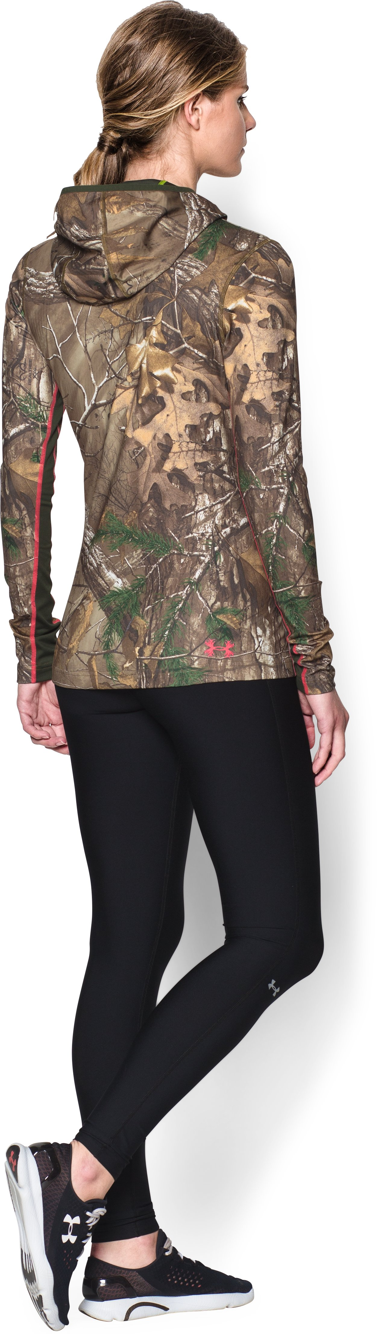 Women's ColdGear® Infrared EVO Hoodie, REALTREE AP-XTRA, Back