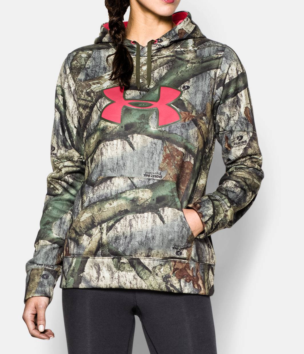 Under armour hoodie with camo logo