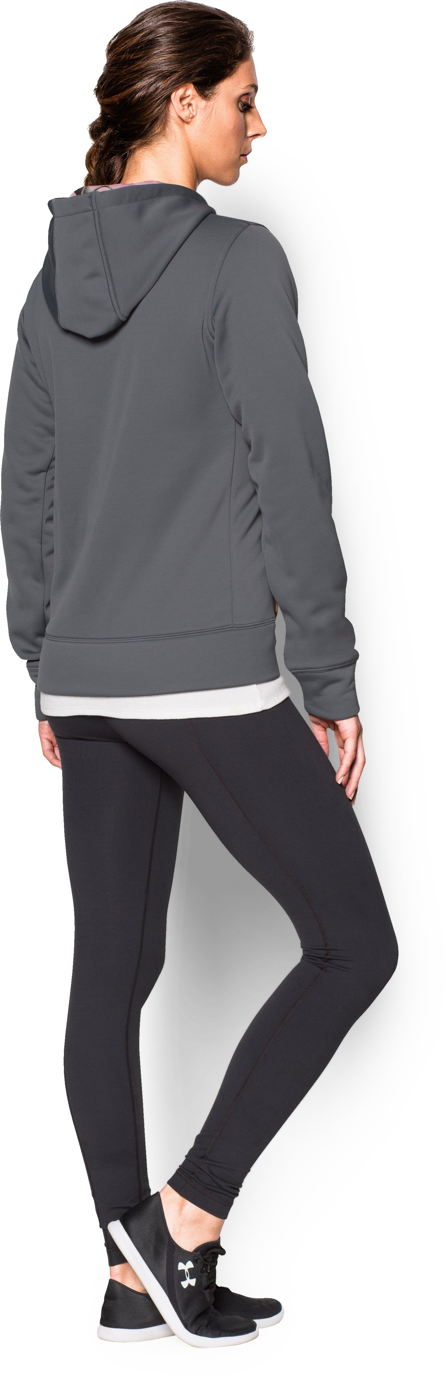 Women's UA Storm Caliber Hoodie, Graphite, Back