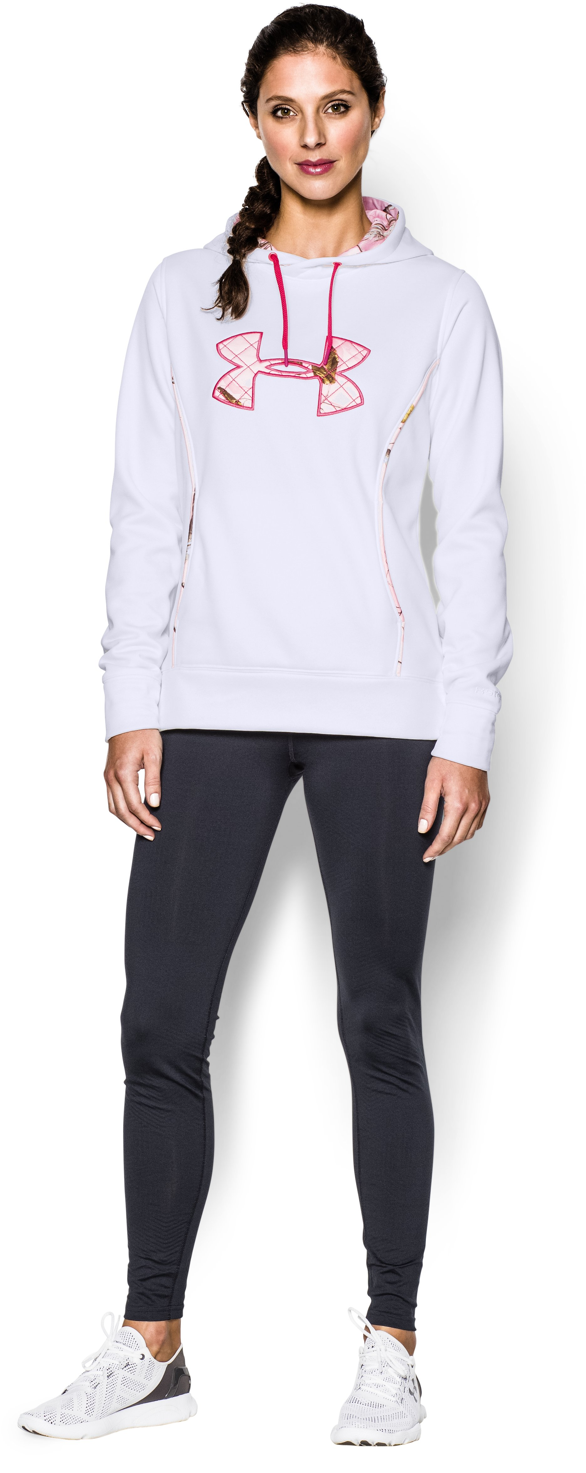 Women's UA Storm Caliber Hoodie, White, Front
