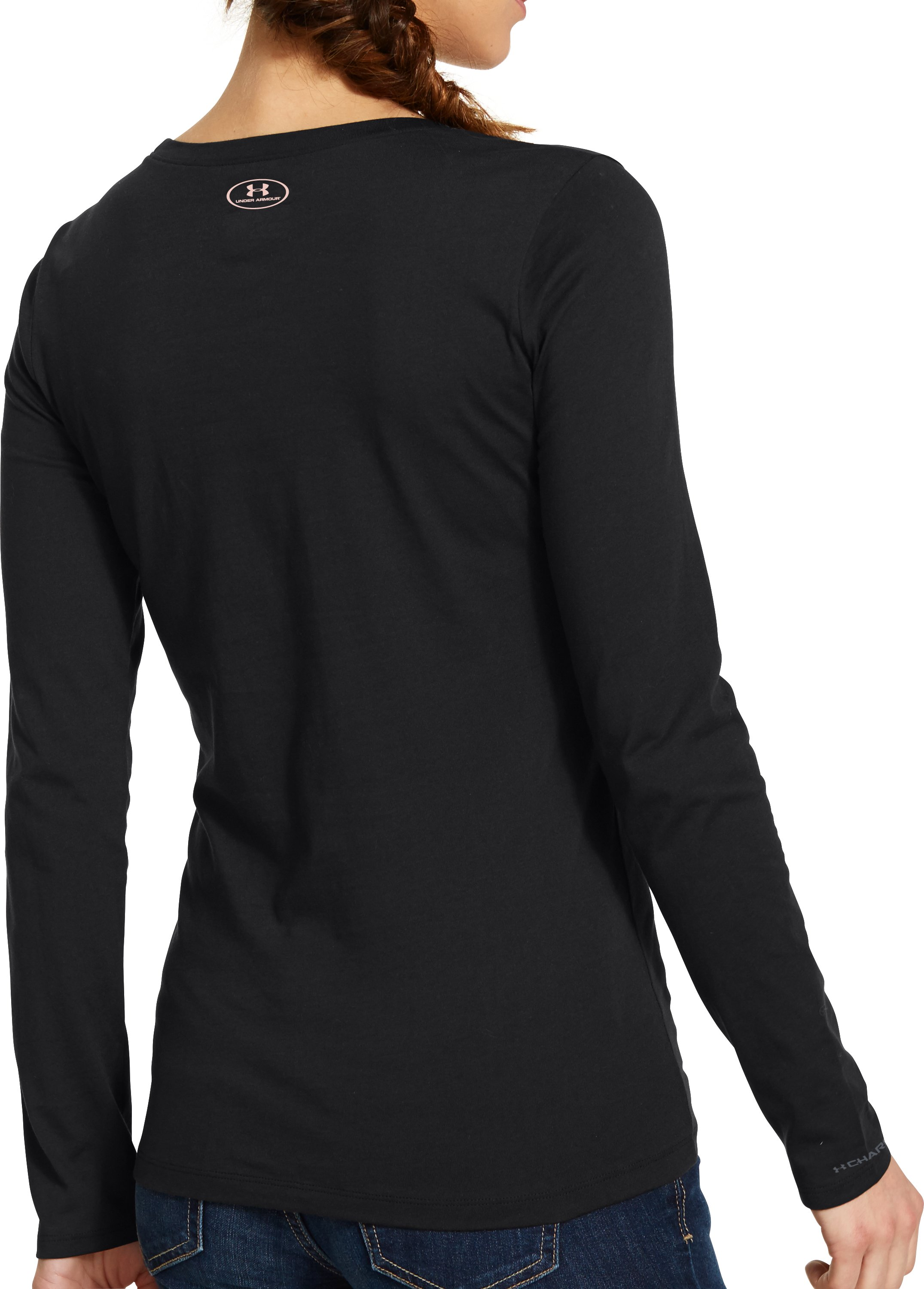 Women's UA Big Logo Camo Long Sleeve, Black , Back