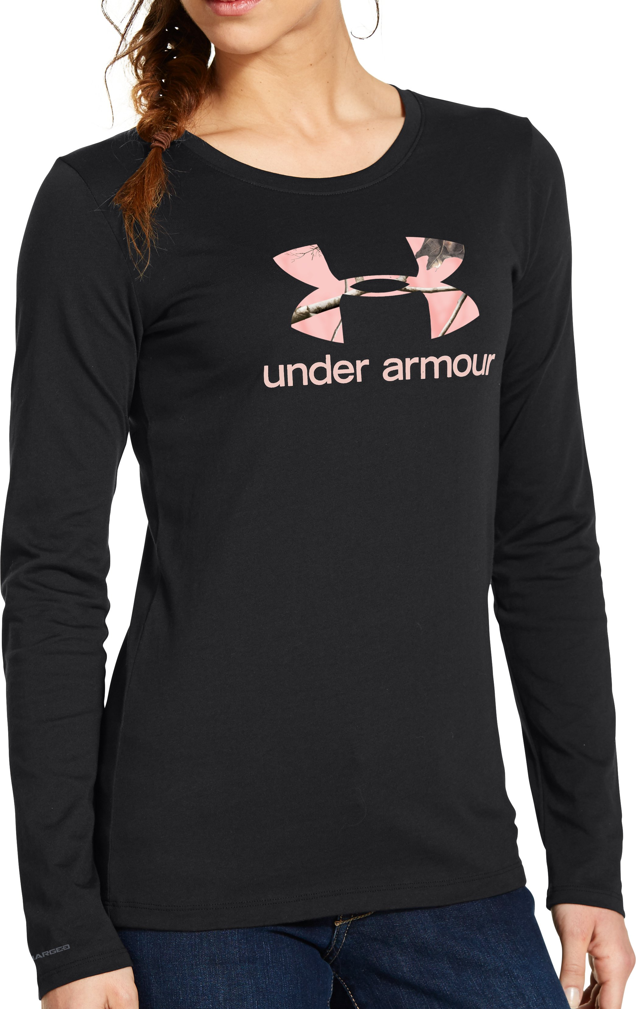 Women's UA Big Logo Camo Long Sleeve, Black , Front