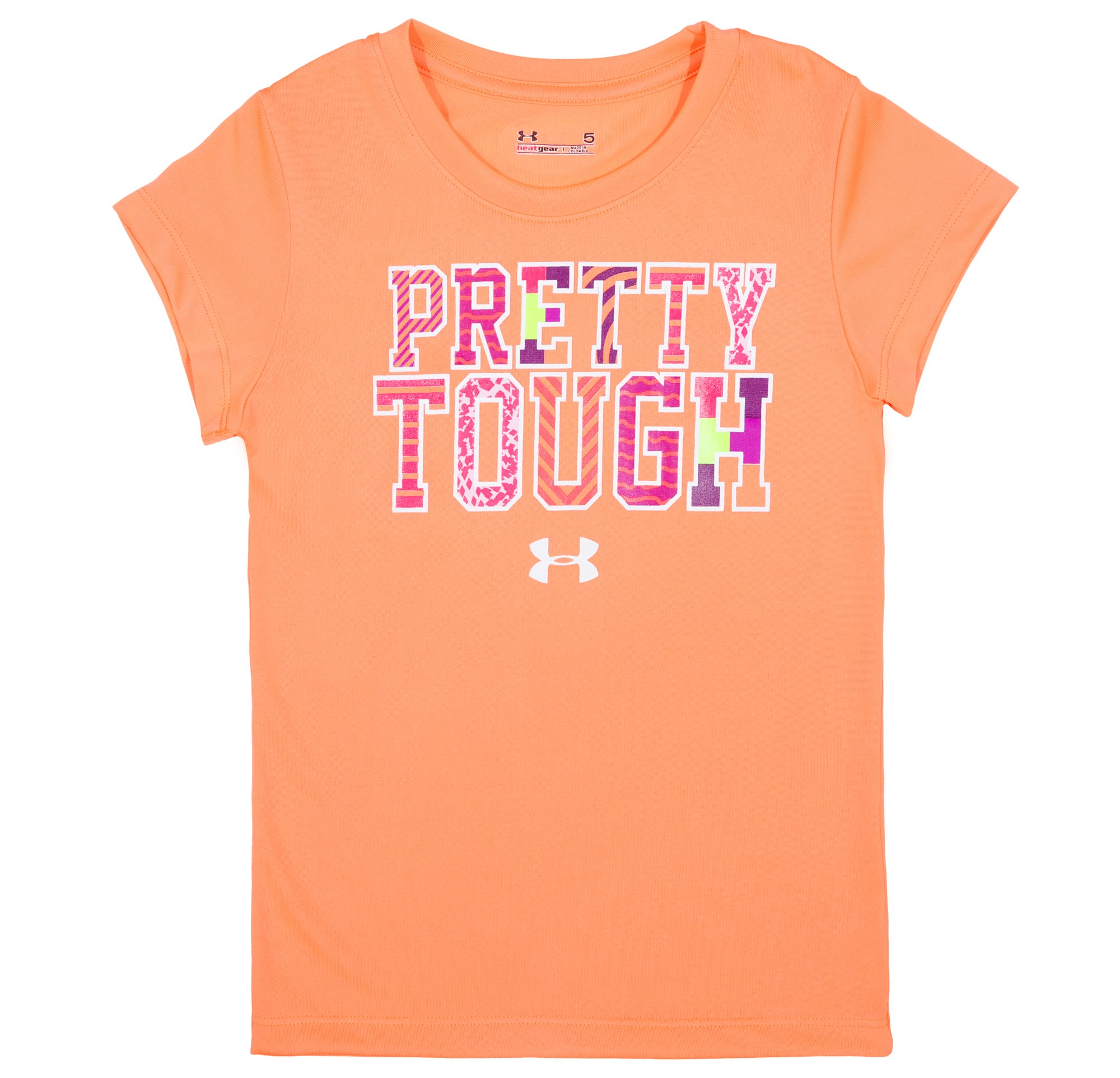 Girls' Pre-School UA Pretty Tough T-Shirt, ELECTRIC TANGERINE, Laydown