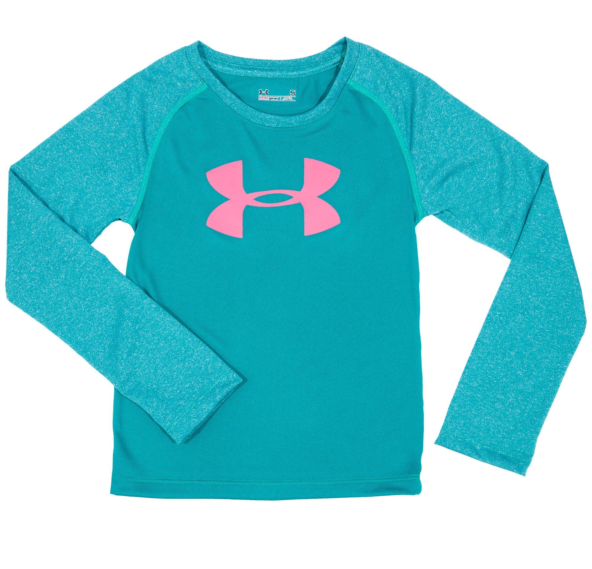 Girls' Pre-School UA Big Logo Raglan Long Sleeve, CERULEAN, Laydown
