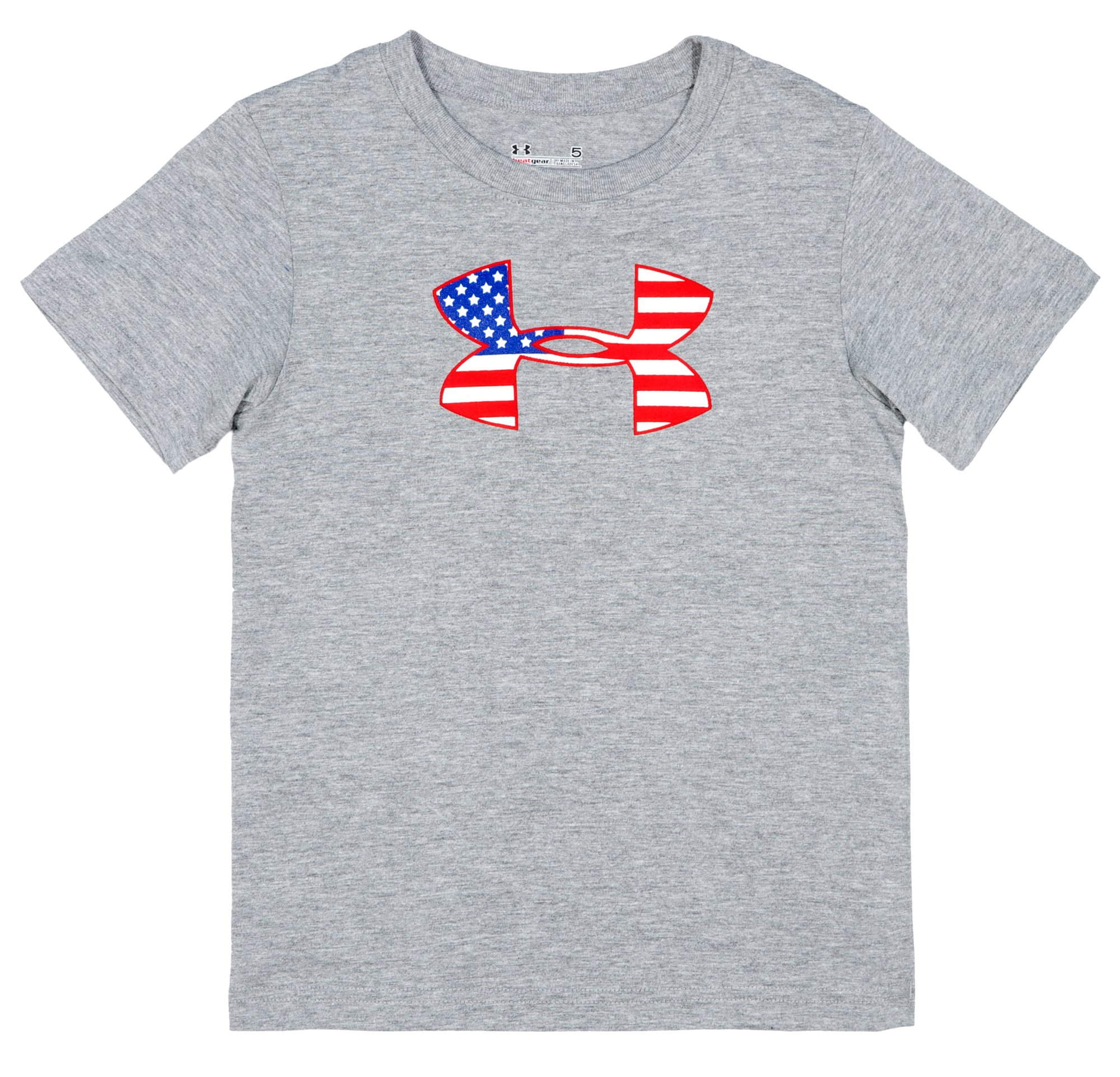 Boys' Pre-School UA Flag Icon T-Shirt, True Gray Heather, Laydown