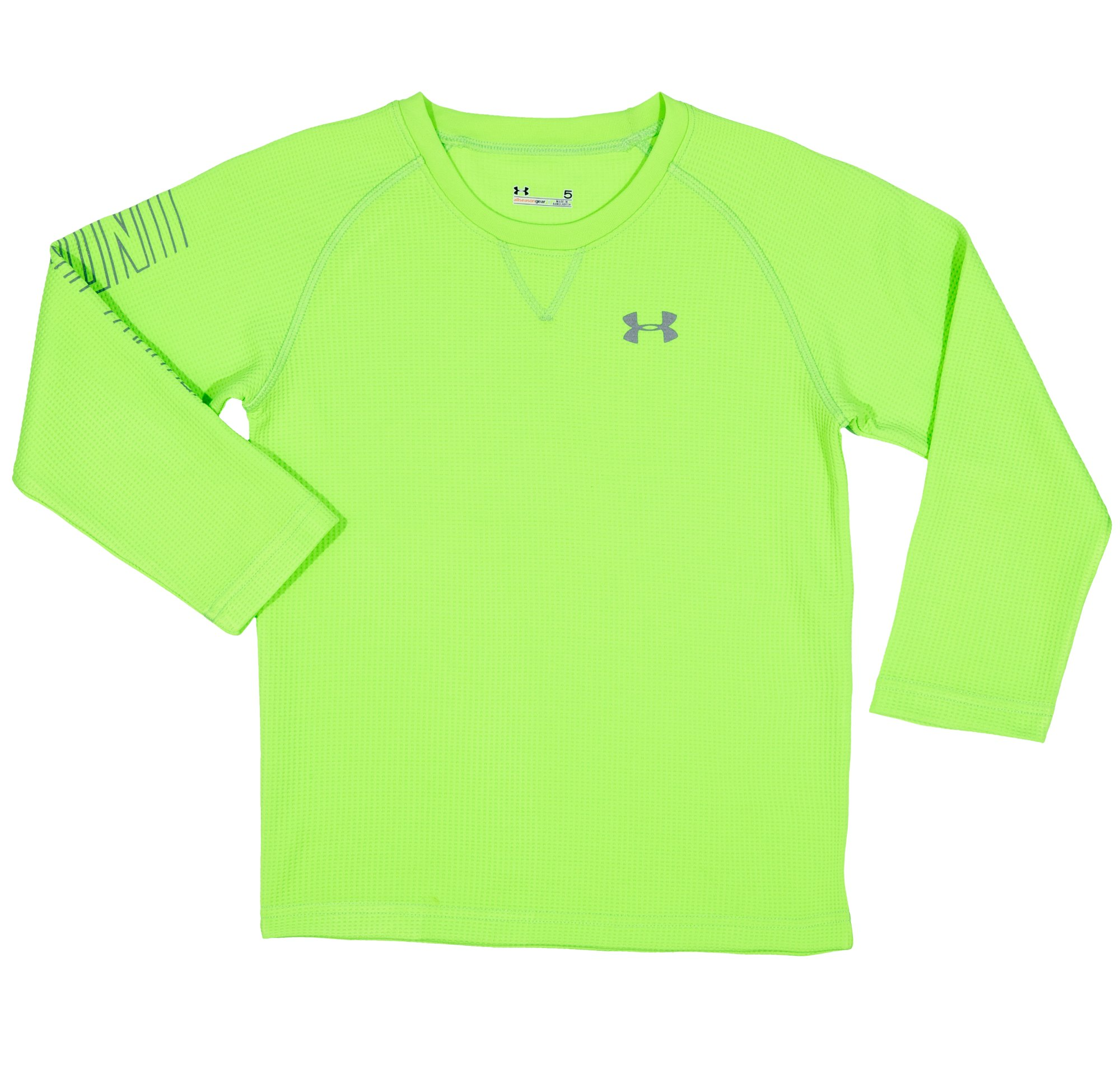 Boys' Pre-School UA Sleeve Hit Waffle Crew, HYPER GREEN, Laydown