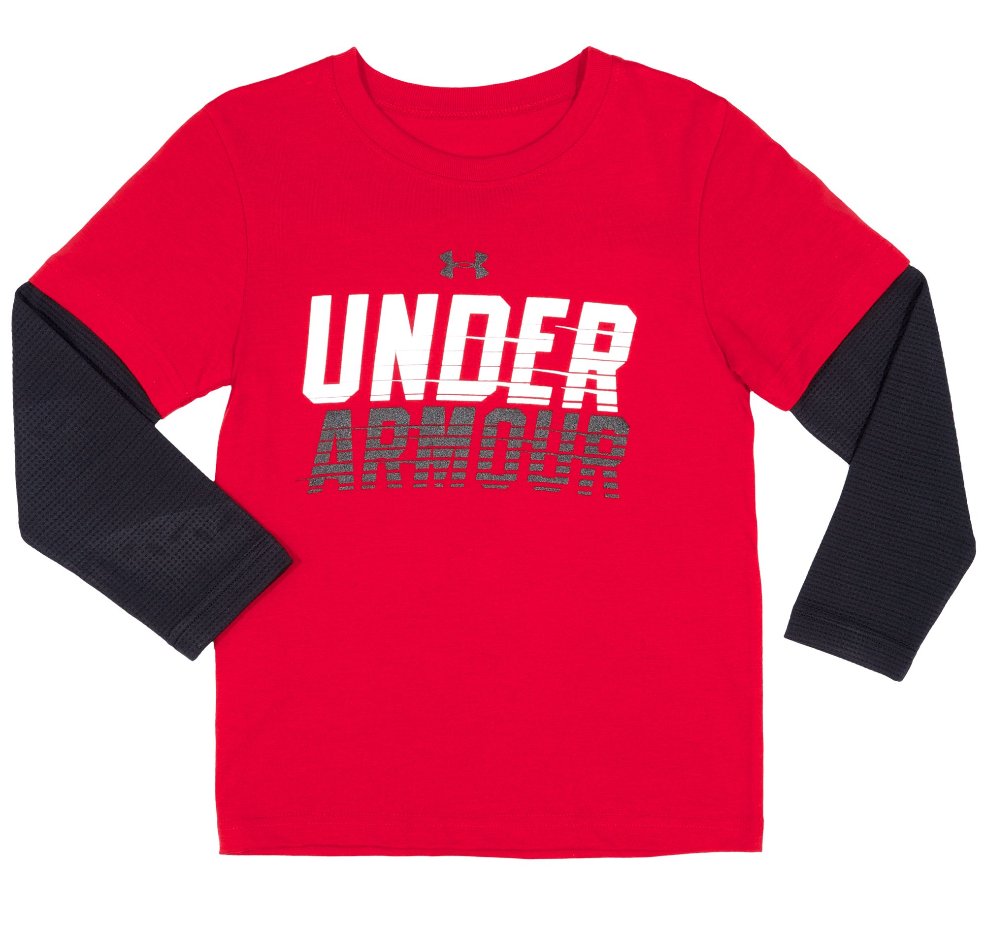 Boys' Pre-School UA Light Speed Long Sleeve, Red, Laydown