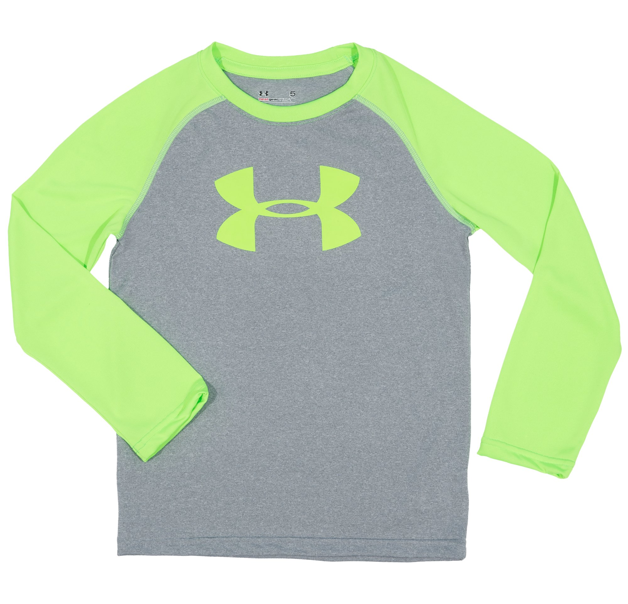 Boys' Pre-School UA Big Logo Raglan Long Sleeve, True Gray Heather, Laydown