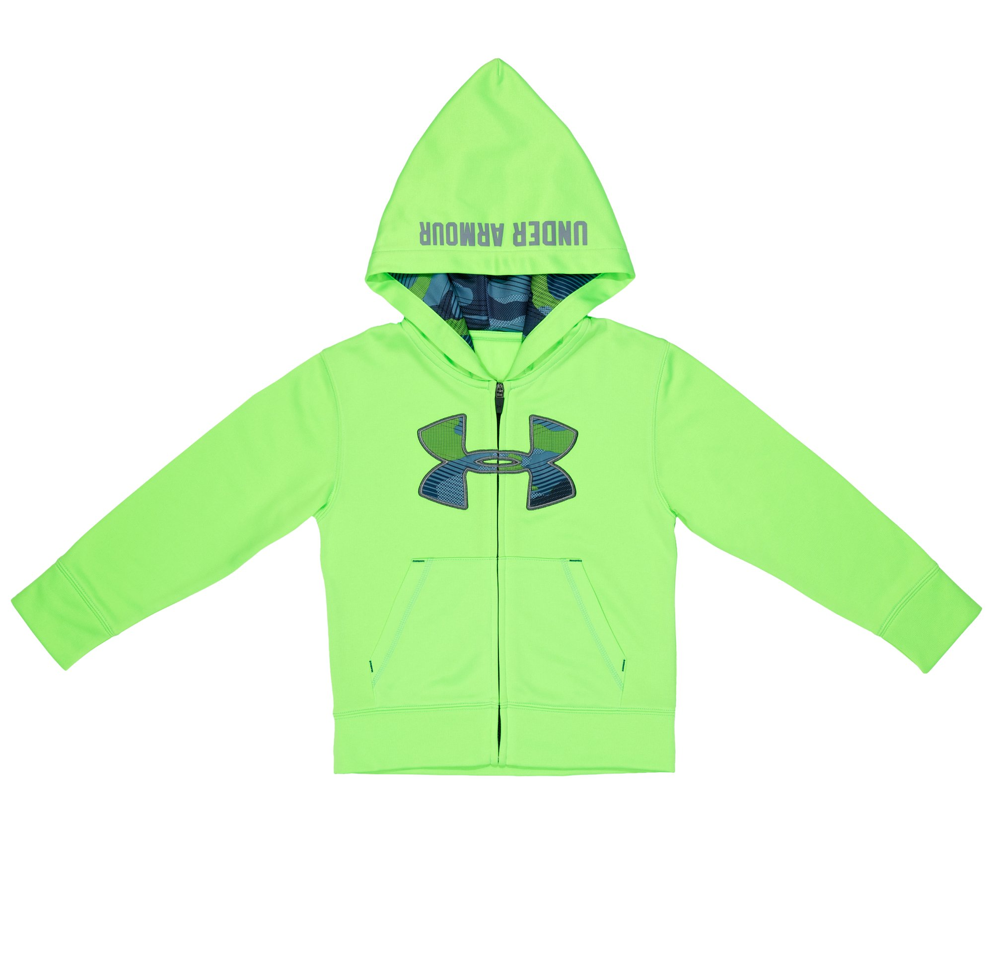 Boys' Pre-School UA Future Camo Hoodie, HYPER GREEN, Laydown