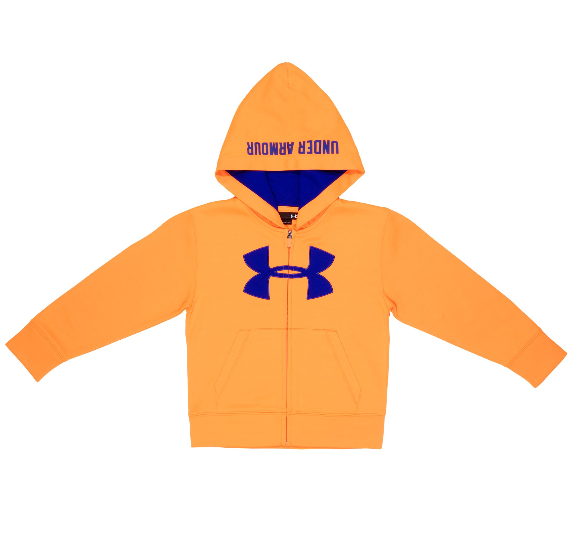 Boys' Pre-School UA Solid Full Zip Hoodie, Blaze Orange, Laydown