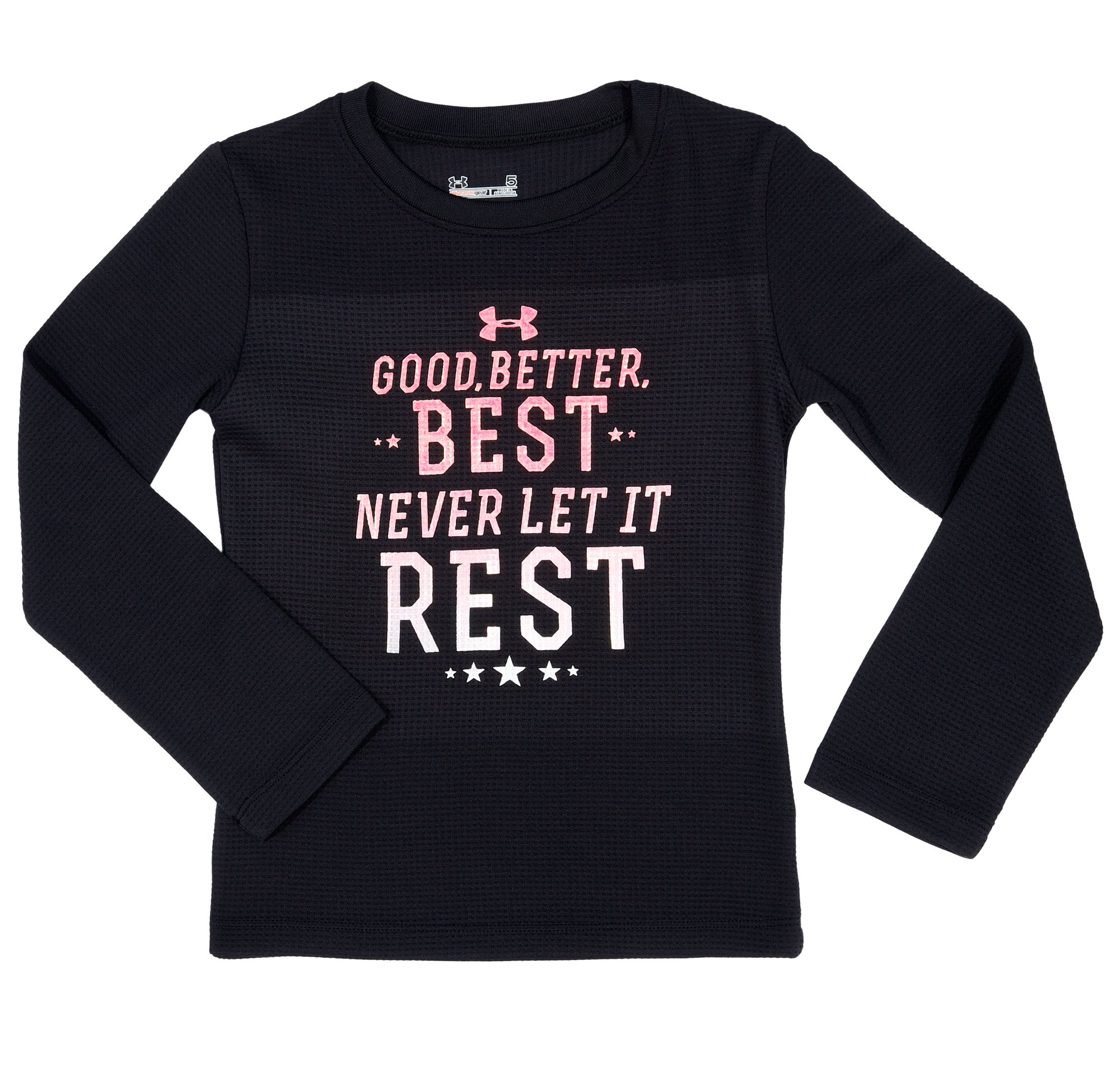 Girls' Toddler UA Good Better Best Longsleeve, Black , Laydown