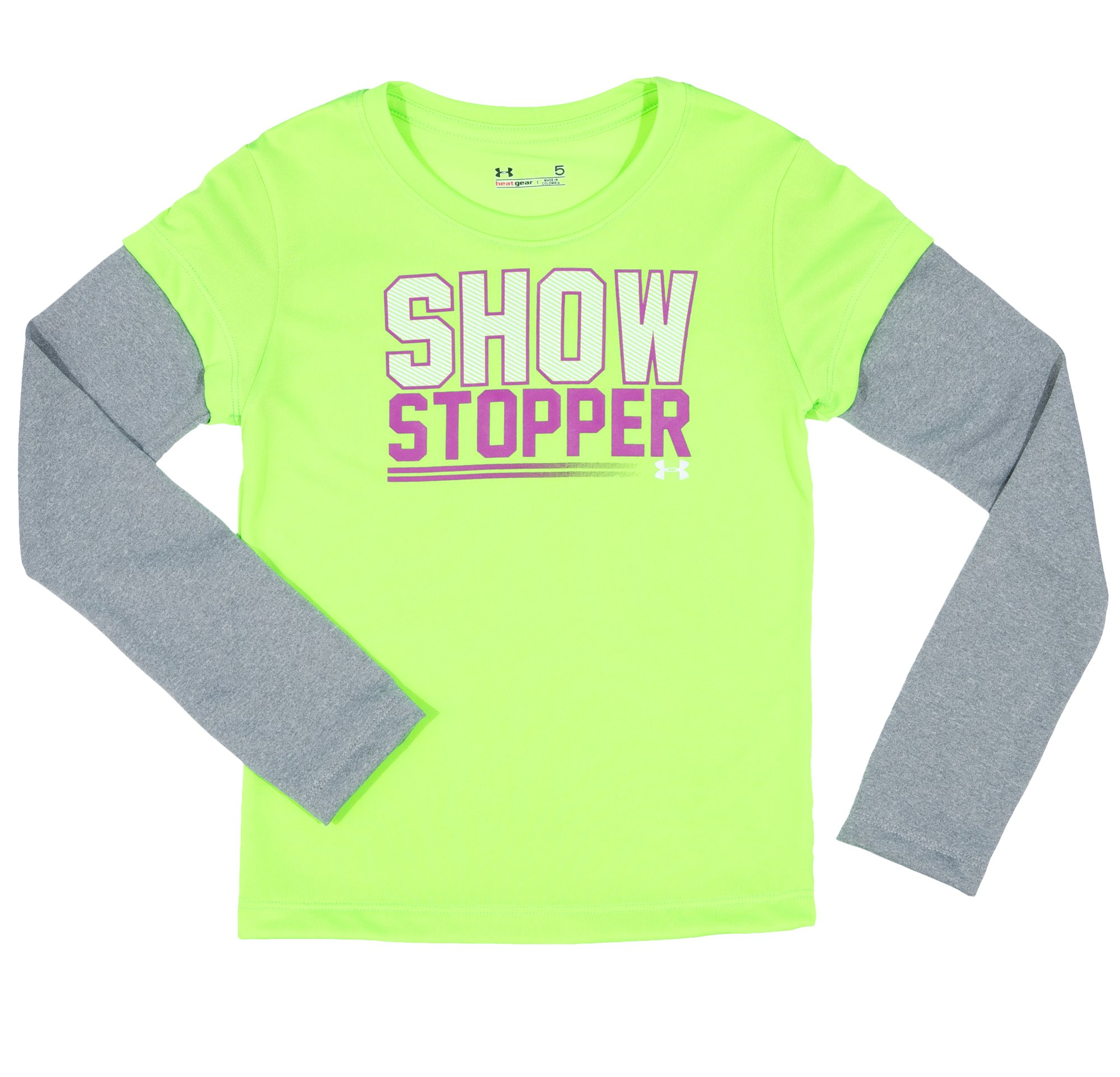 Girls' Toddler UA Show Stopper Longsleeve, HYPER GREEN, Laydown
