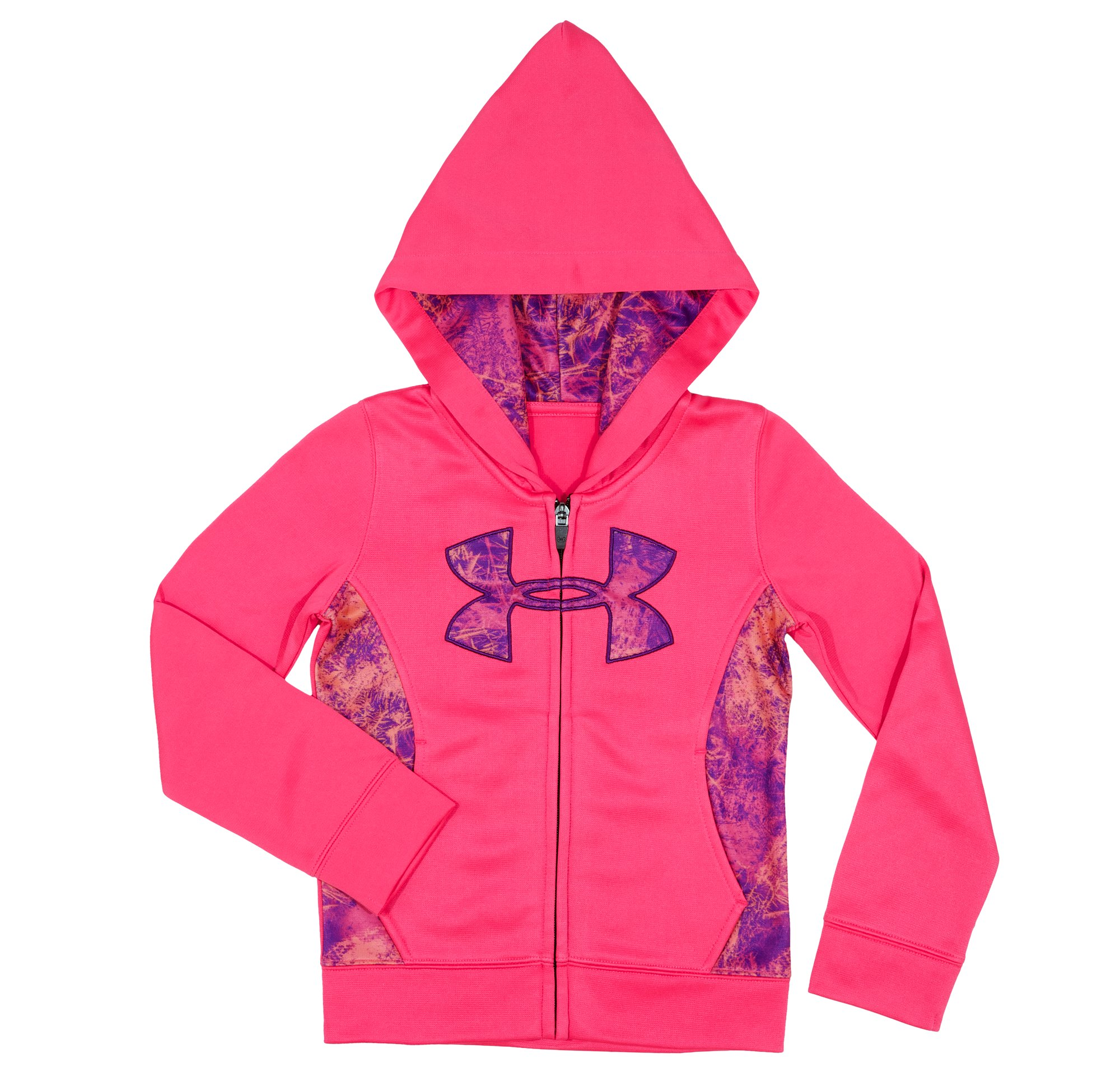 Girls' Toddler UA Ice Camo Big Logo Full Zip Hoody, PINKADELIC, Laydown