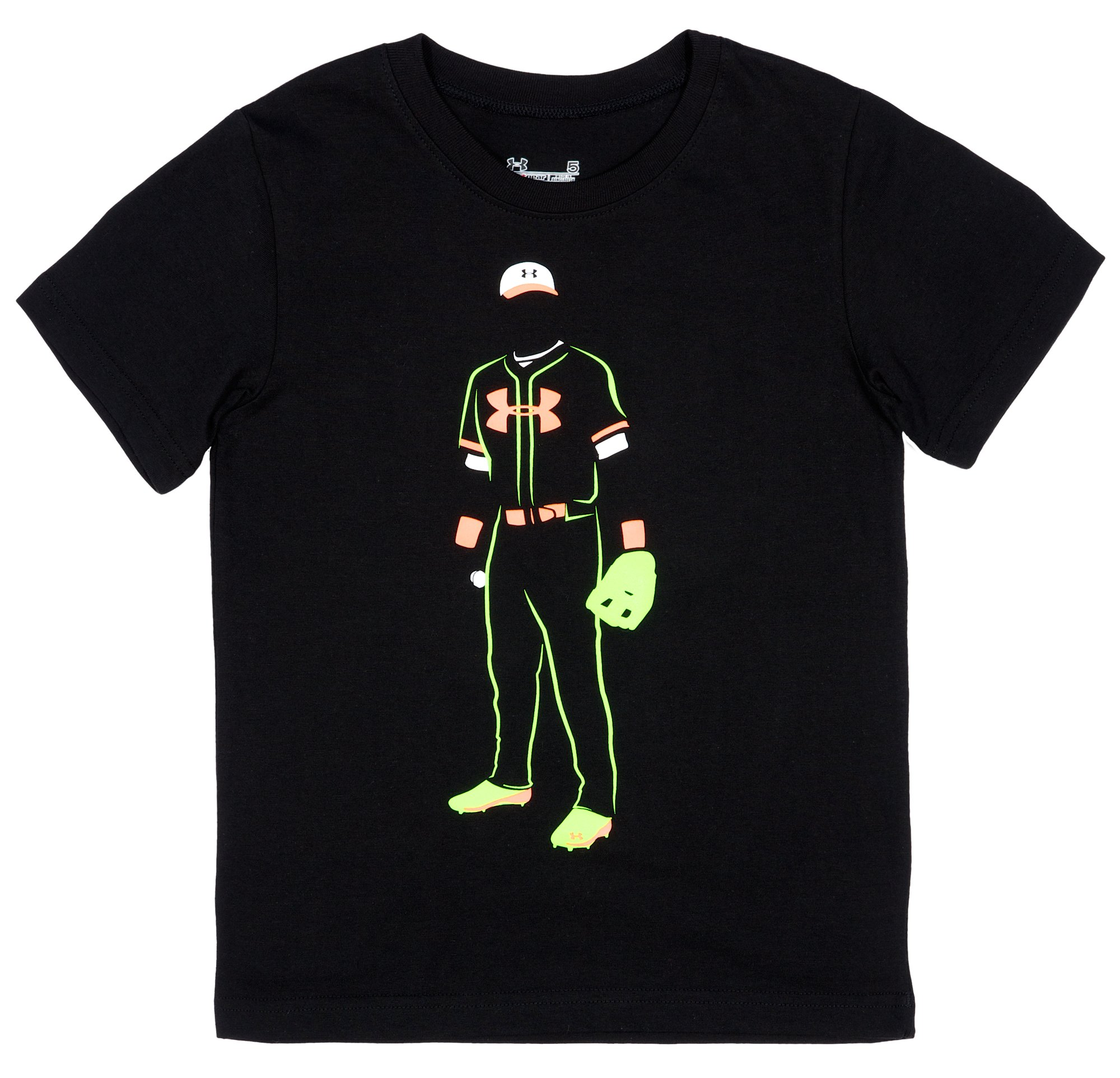 Boys' Toddler UA Baseball Glow T-Shirt, Black , Laydown